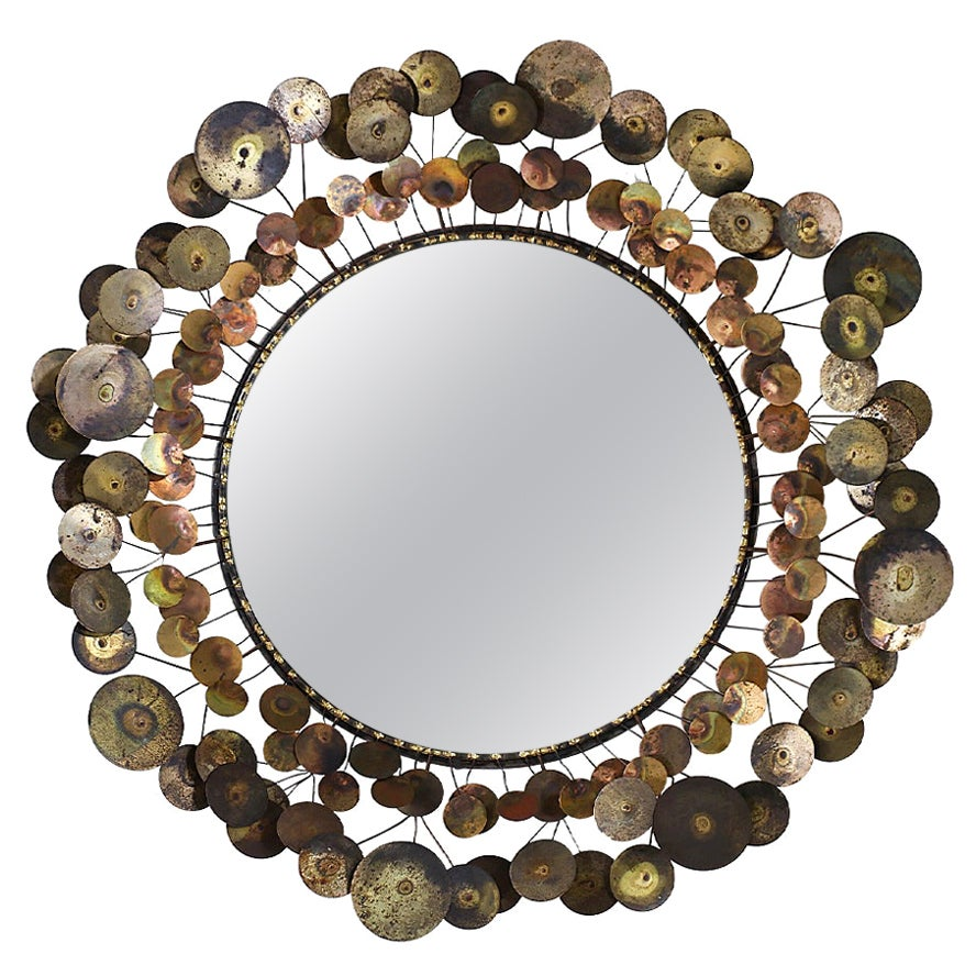 """Vintage Curtis Jere """"Cloud"""" Brass Mirror for Artisan House"""