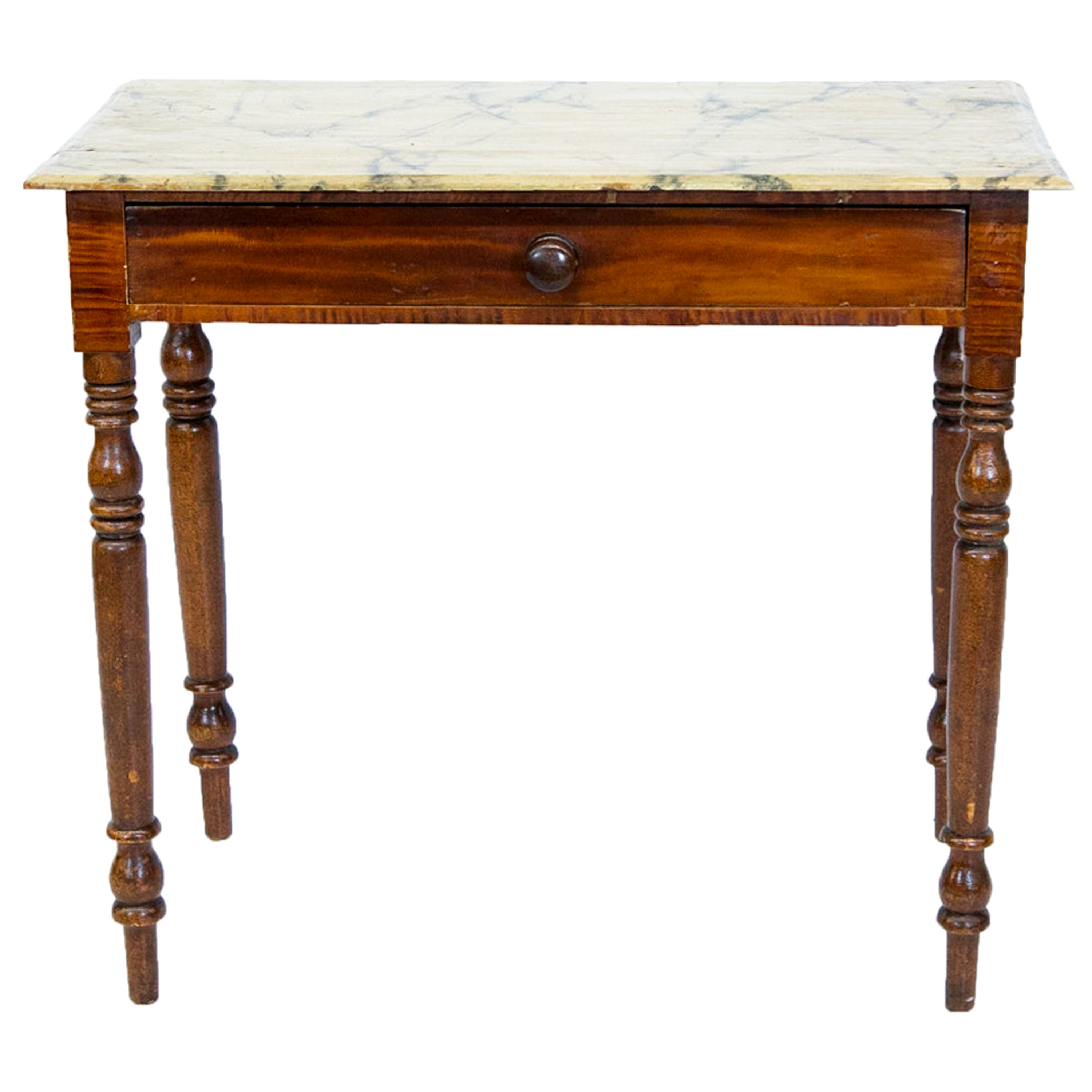Faux Painted One-Drawer Side Table