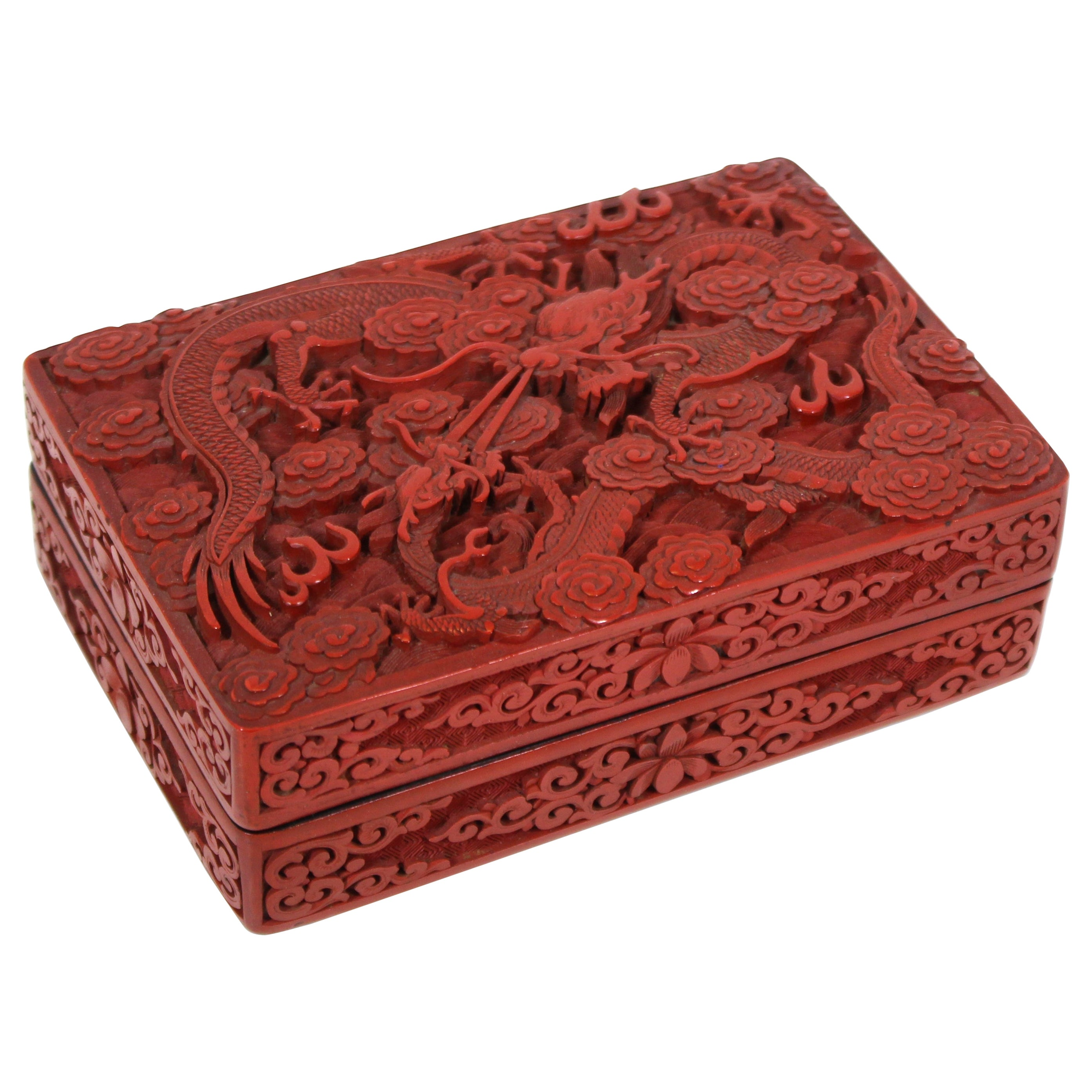 Chinese Red Cinnabar Box with Dragon Motif