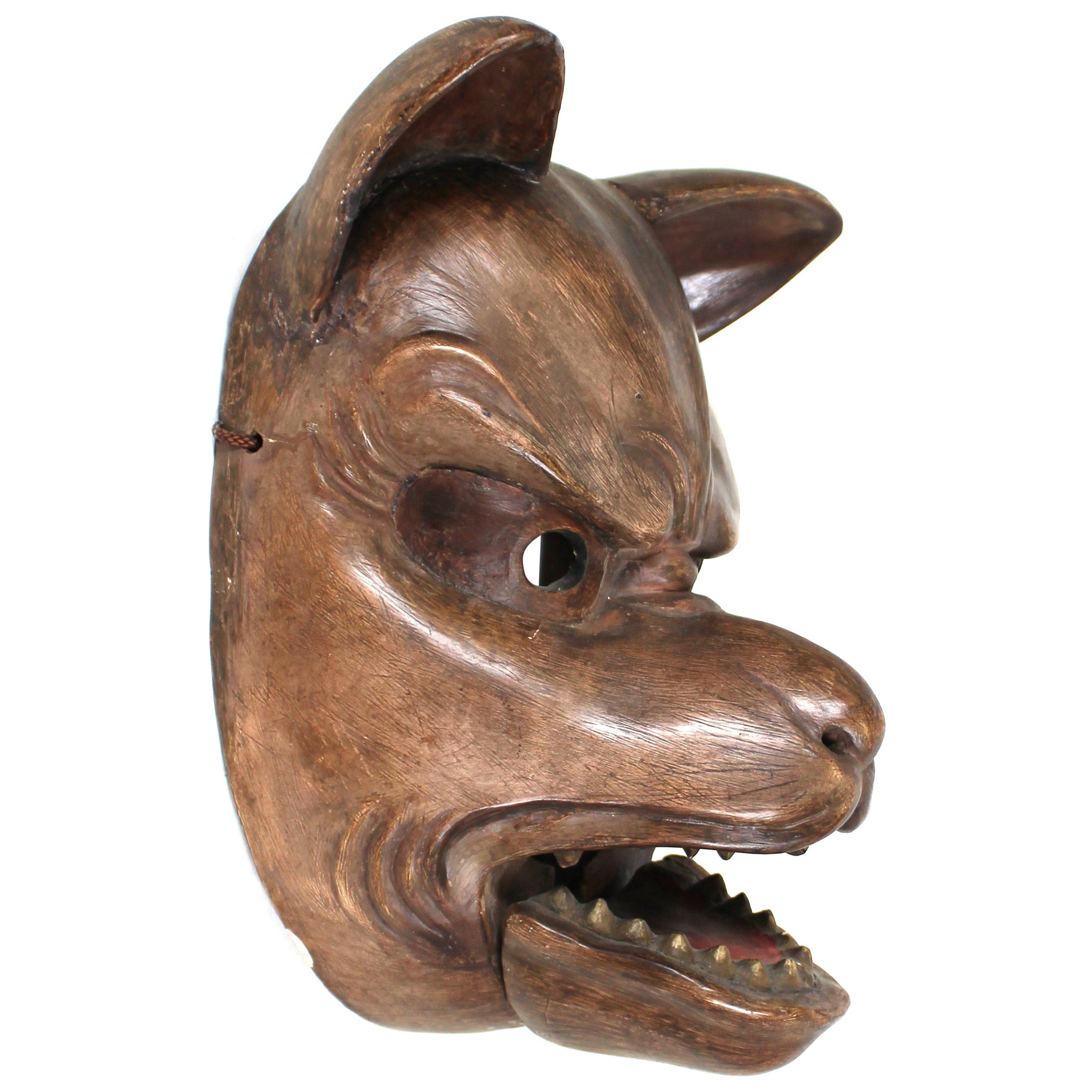 Japanese Edo Carved Wood Fox Mask with Articulated Jaw