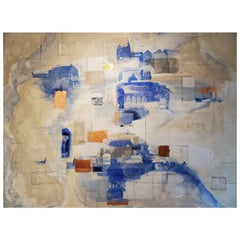 Veiled Paths, Abstract Architecture Mixed-Media Painting, Blue, White, Bronze