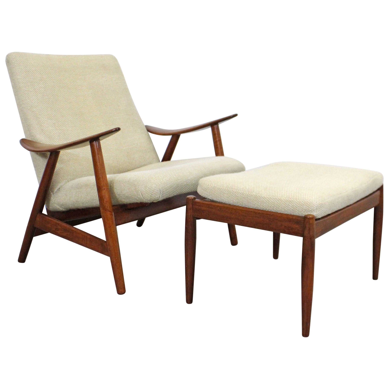 Midcentury Danish Modern Teak Lounge Chair and Ottoman