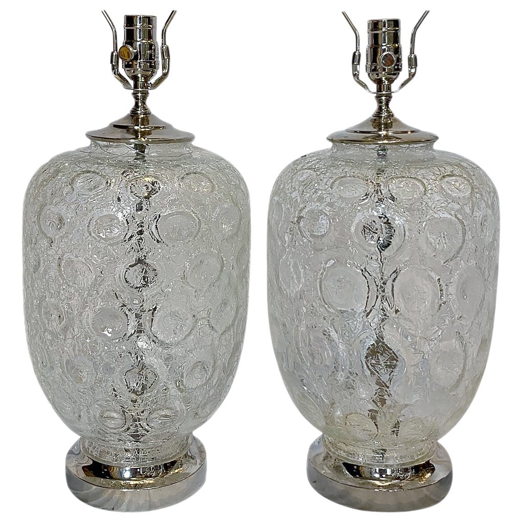 Pair of Midcentury Glass Table Lamps