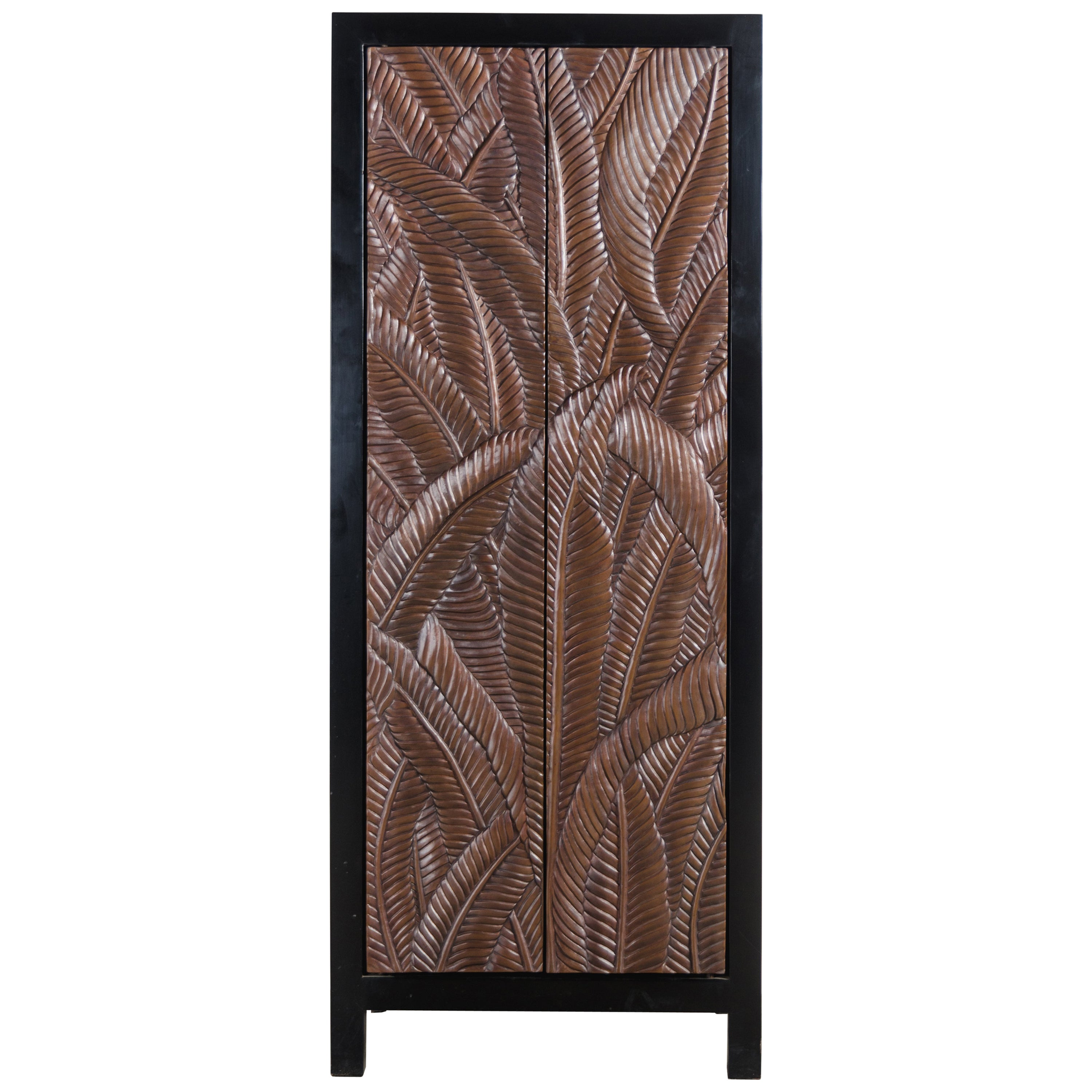Banana Leaf Design Narrow Cabinet by Robert Kuo, Hand Repousse, Limited Edition