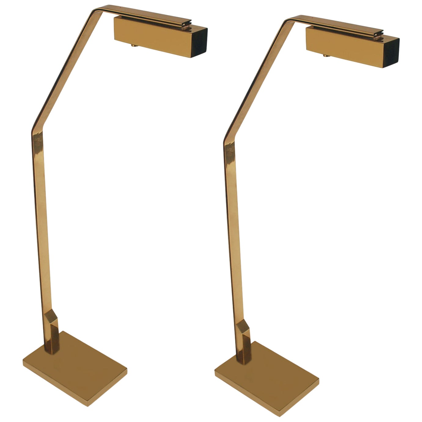 Pair of Midcentury Italian Modern Polished Brass Reading Floor Lamps by Casella