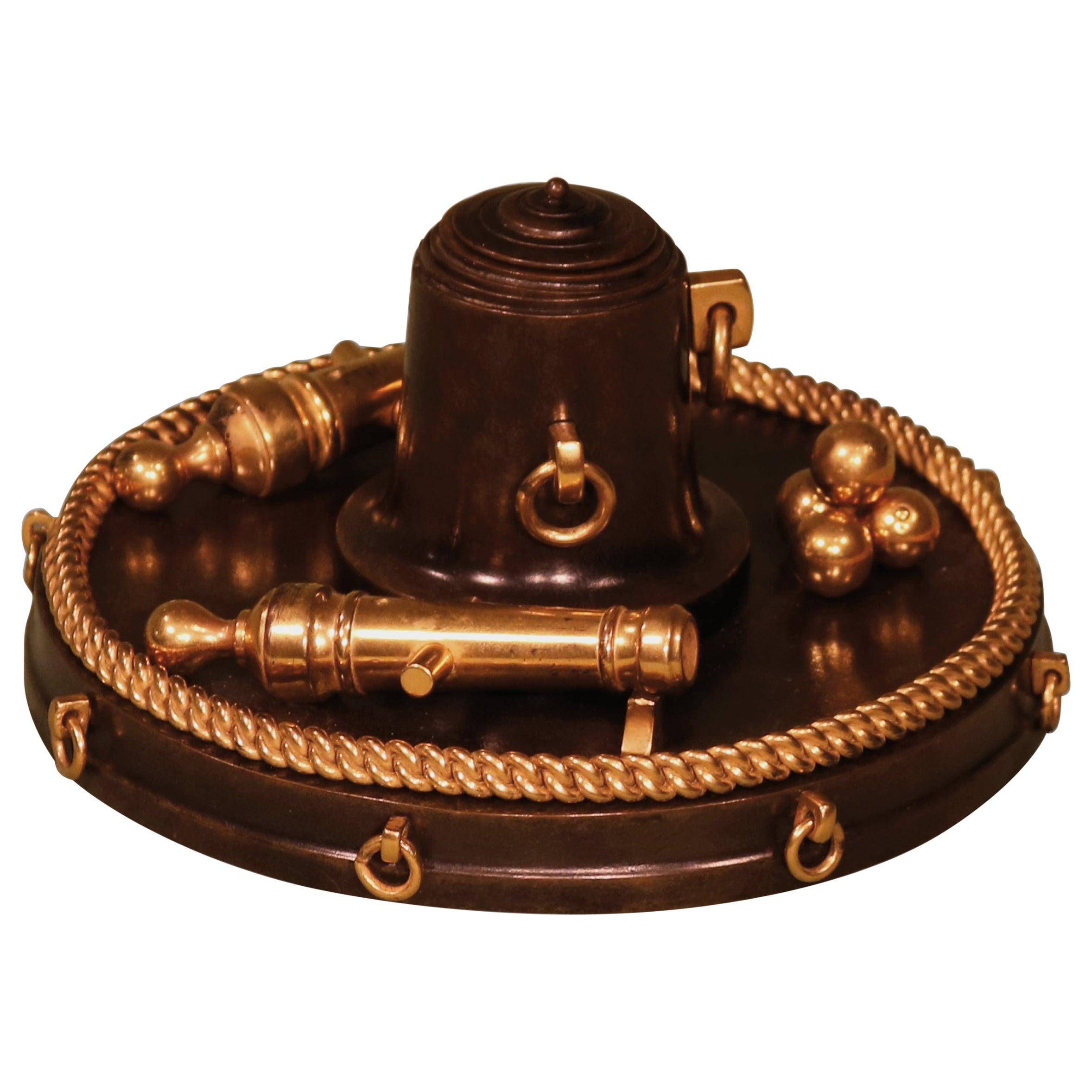 19th Century Bronze Nautical Inkwell