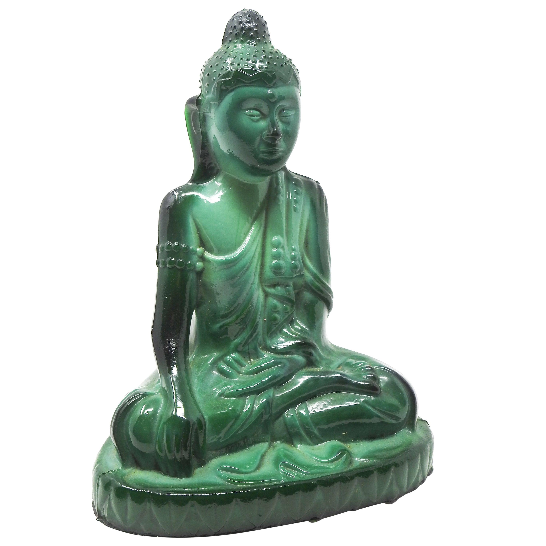 Czech Malachite Glass Buddha Sculpture, Schlevogt Hoffmann