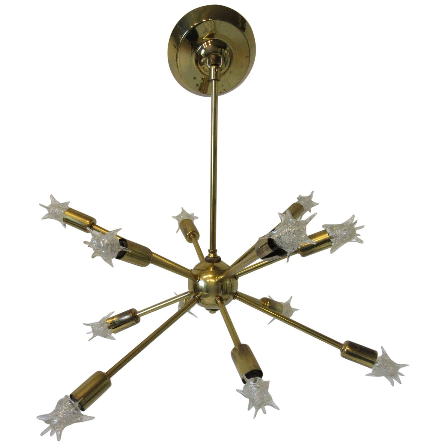 Midcentury Atomic or Spunik Brass Chandelier by the Majestic Lamp Co