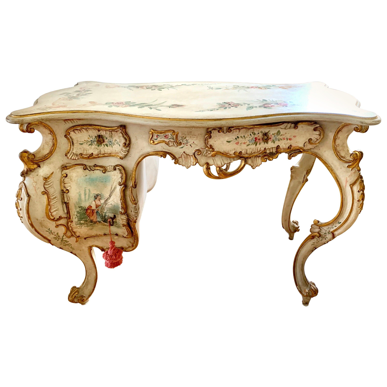 Italian Venetian White Painted Ladies Writing Desk Table Vanity