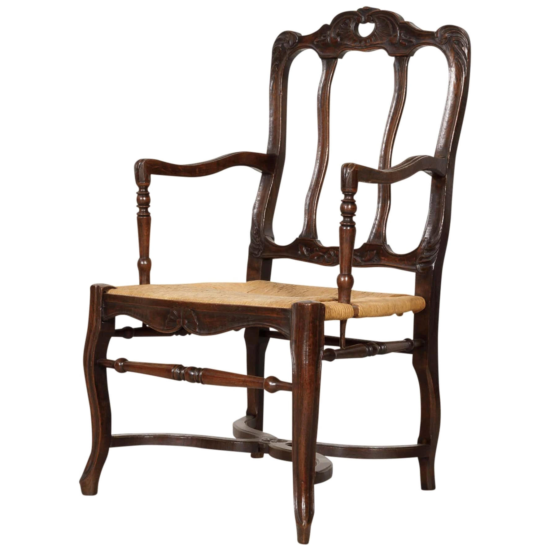 19th Century Country French Hand Carved Oak Rush Seat Armchair