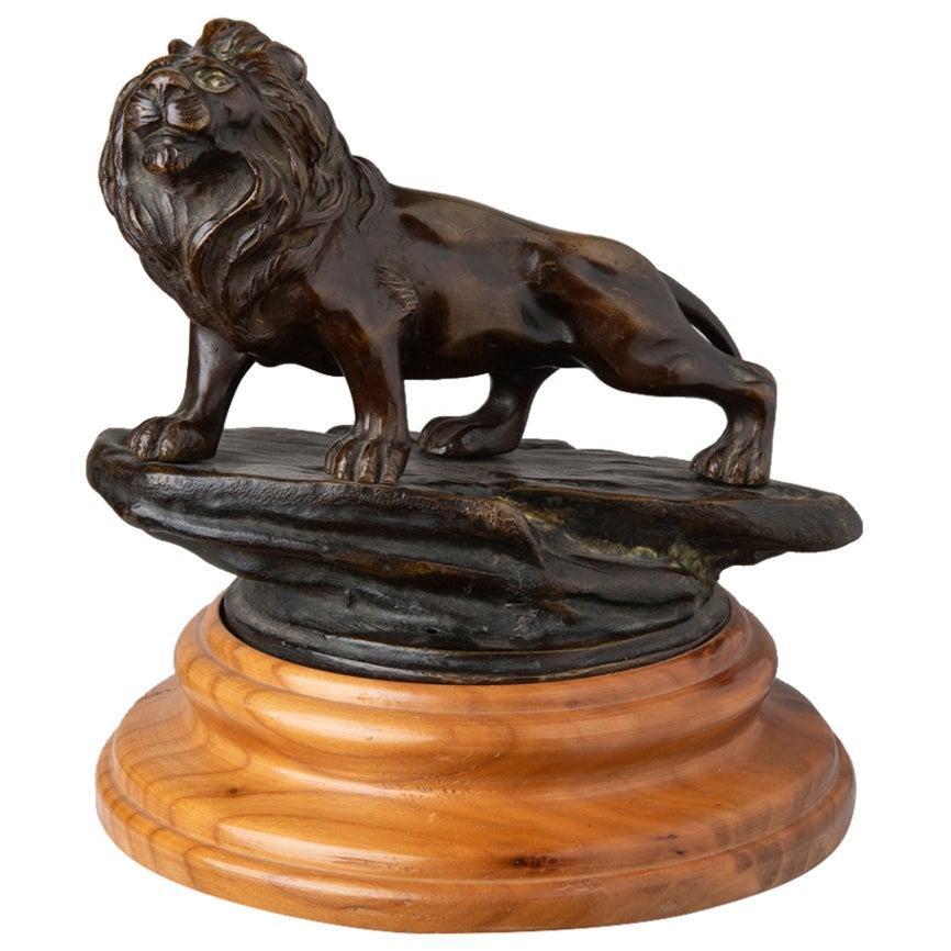 Lion Bronze Sculpture on Wood Base