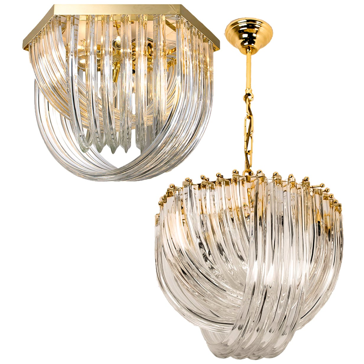 Venini Light Fixture, Curved Crystal Glass and Gilt Brass, Italy