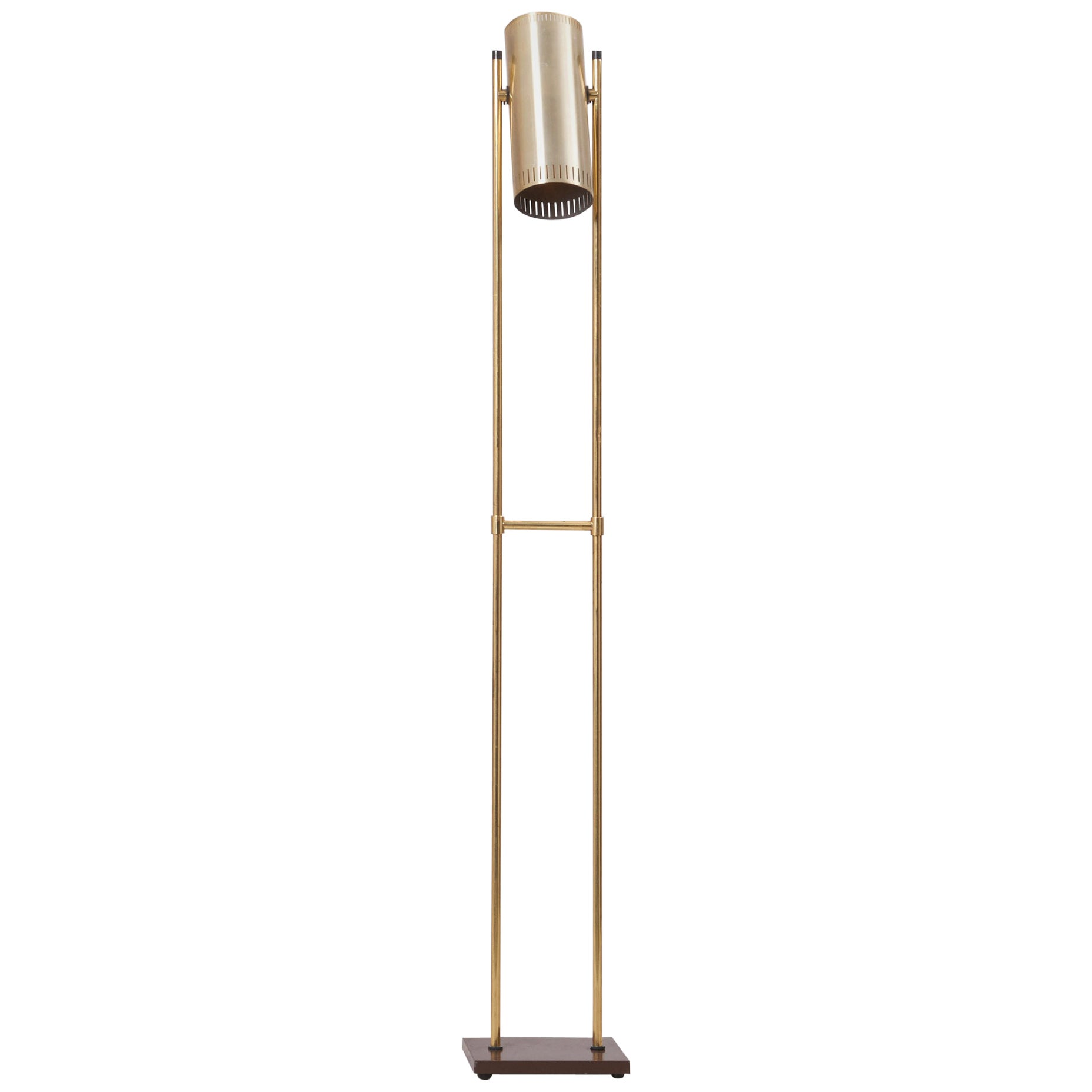 Brass Floor Lamp 'Trombone' by Jo Hammerborg for Fog & Mørup, Denmark, 1960s