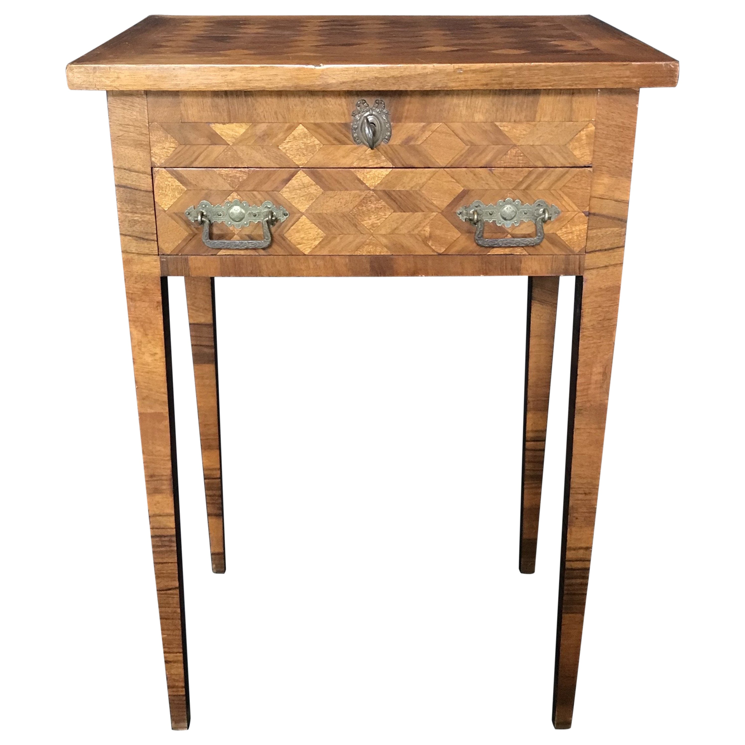 Lovely French Walnut Parquetry Side Table or Nightstand