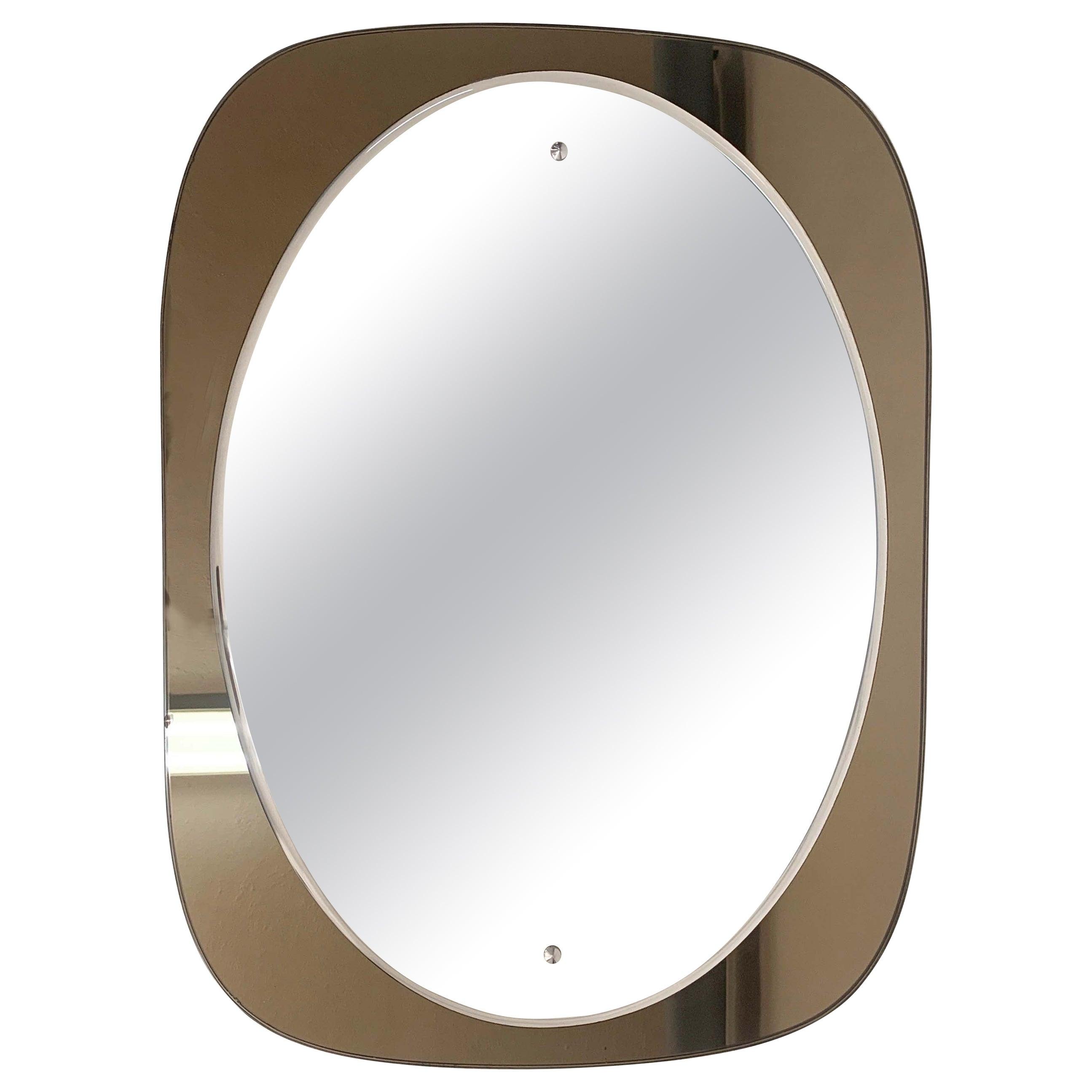 Veca Midcentury Italian Oval Wall Mirror with Bronze Glass Frame, 1960s