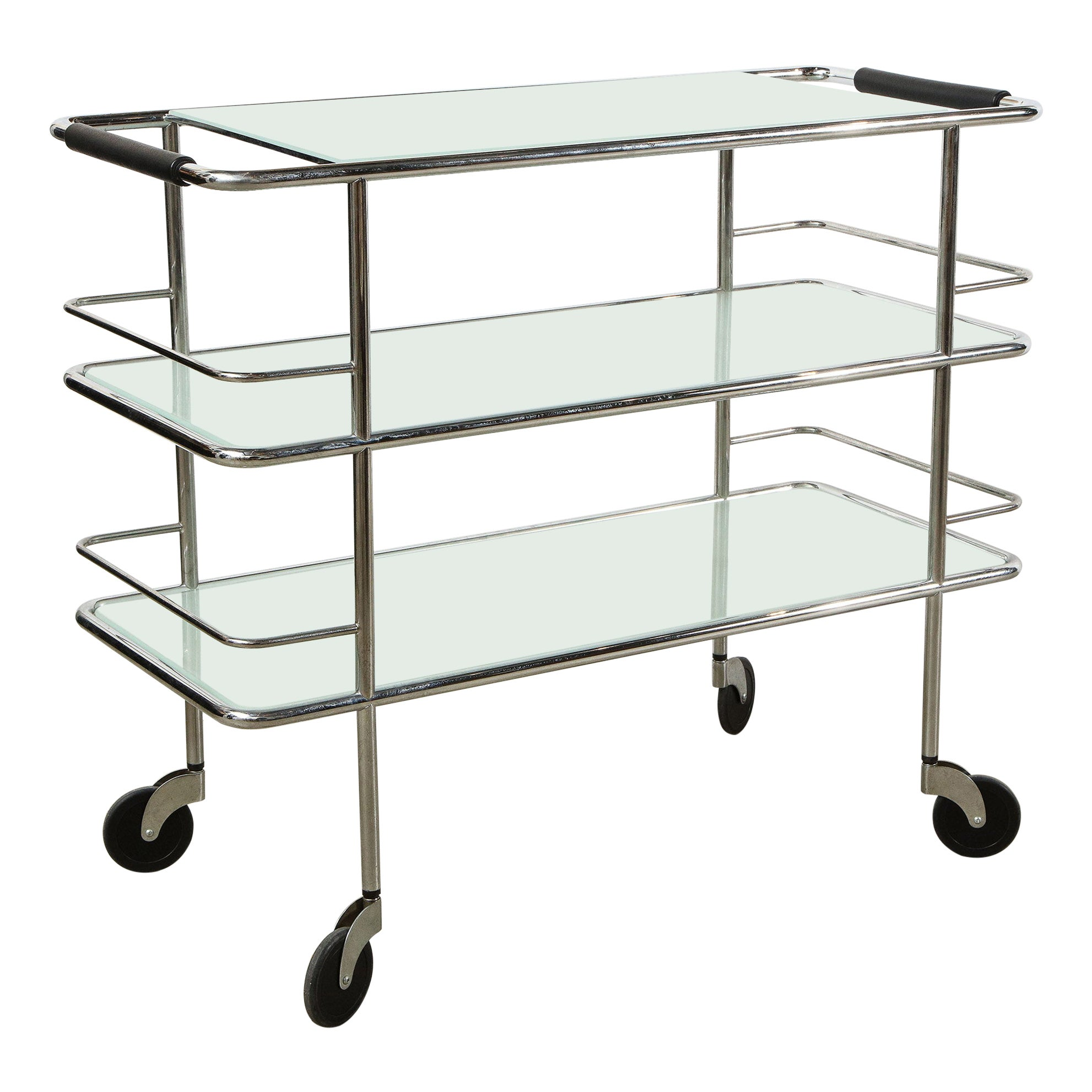 Three-Tiered Chrome, Glass and Leather Bar Cart