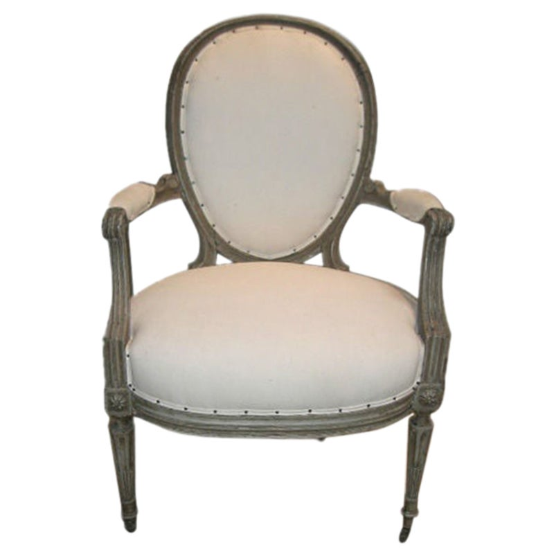 Louis XV Style Armchair in Original Distressed Paint Finish