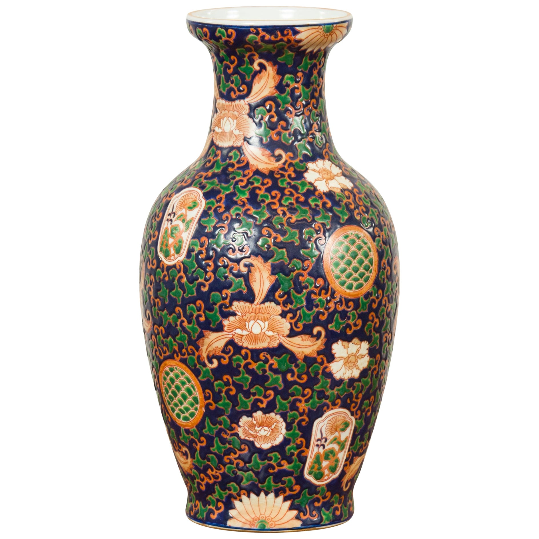 Chinese Contemporary Hand Painted Vase with Cobalt Blue Ground and Floral Decor