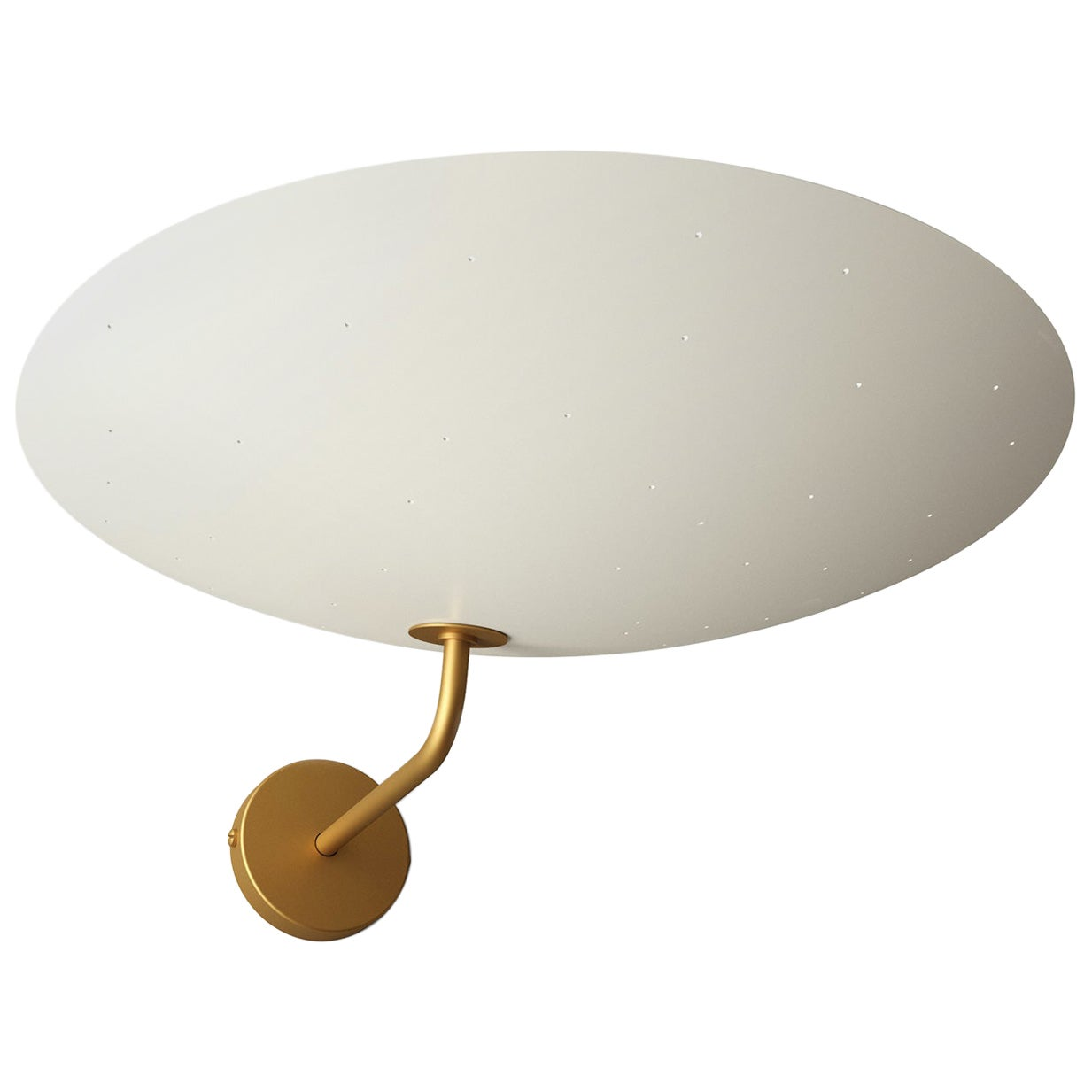 Pierre Disderot Model #2059 Large Perforated Wall Lamp in White & Brushed Brass