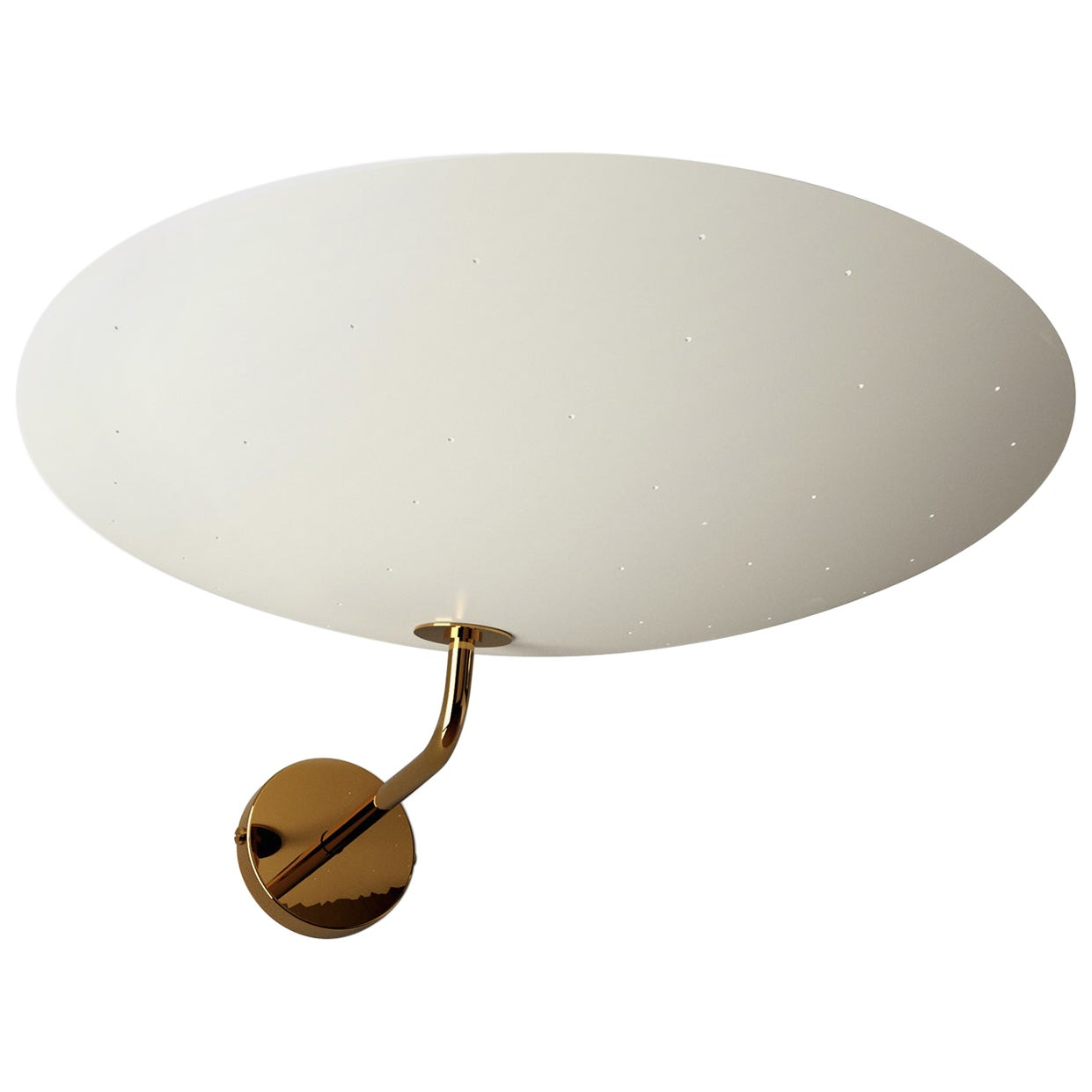 Pierre Disderot Model #2059 Large Perforated Wall Lamp in White & Polished Brass