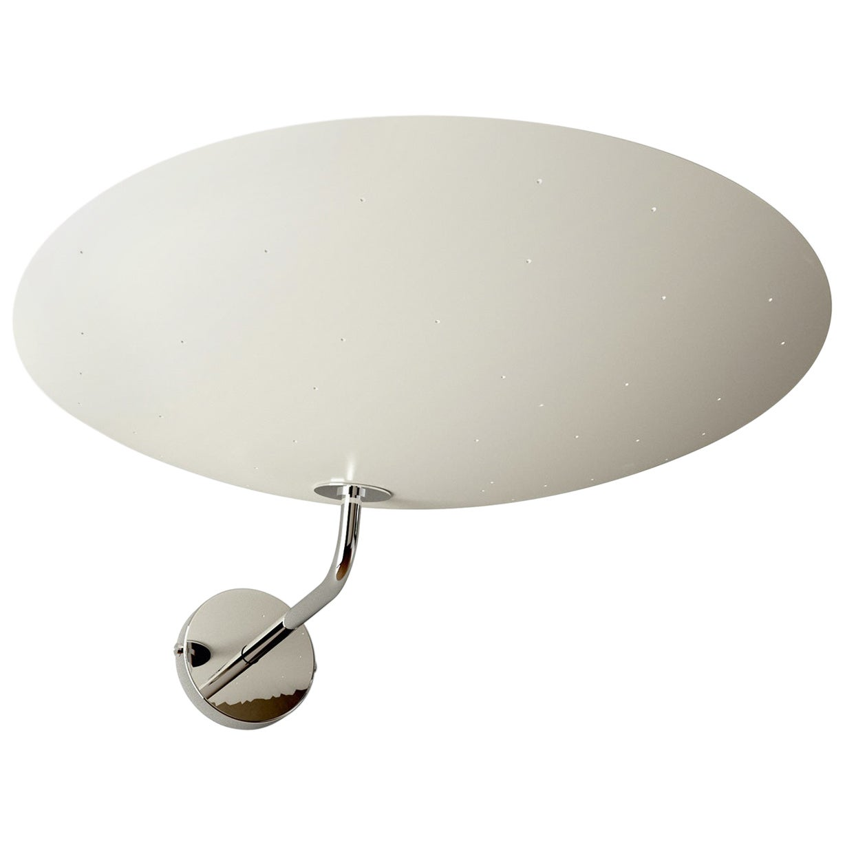 Pierre Disderot Model #2059 Large Perforated Wall Lamp in White and Chrome