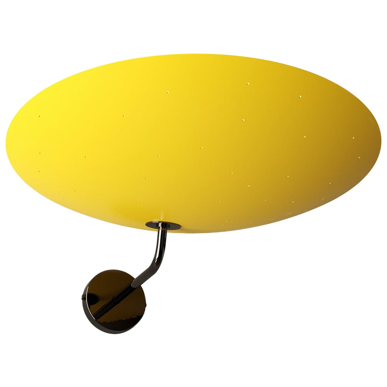 Pierre Disderot Model #2059 Large Perforated Wall Lamp in Yellow and Dark Chrome