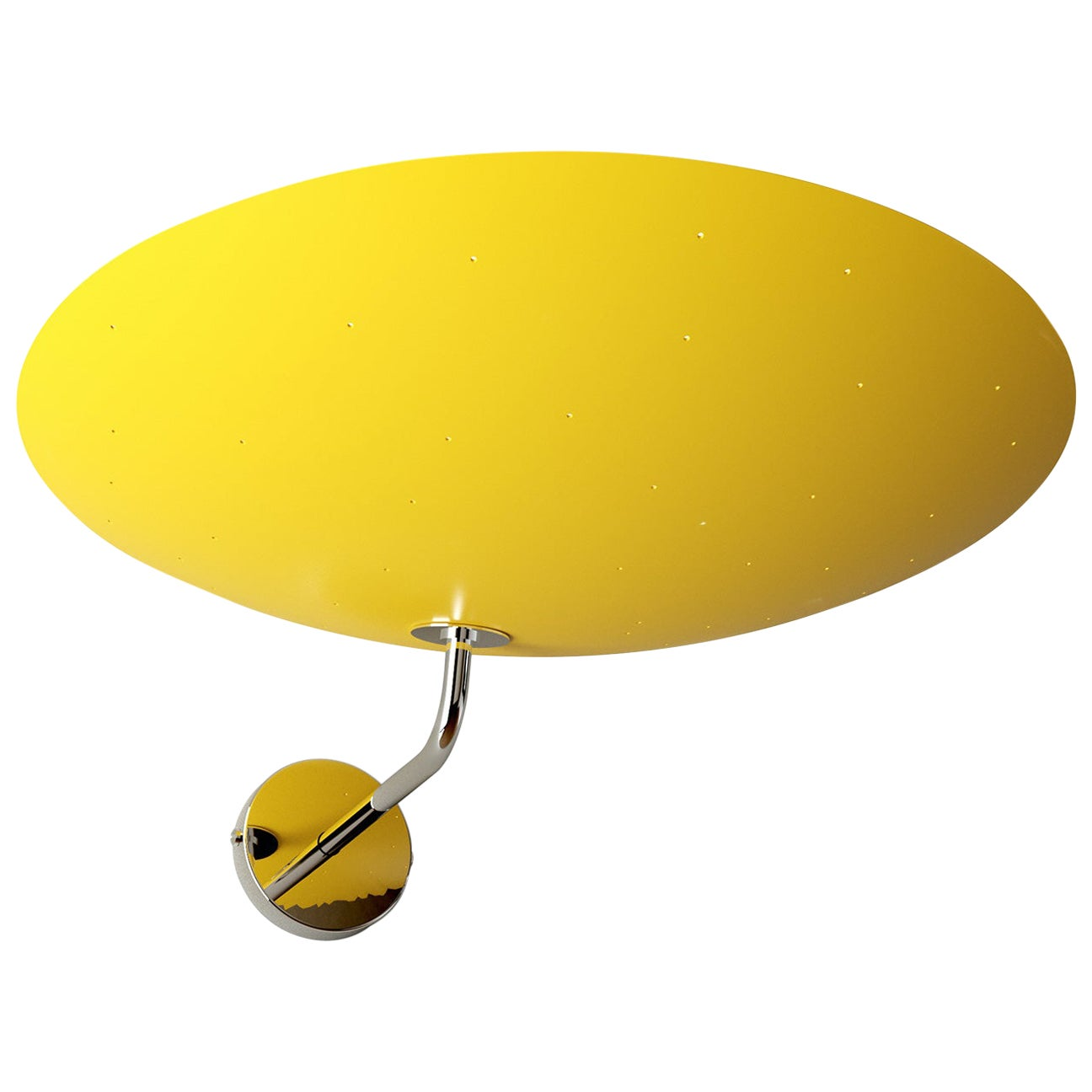 Pierre Disderot Model #2059 Large Perforated Wall Lamp in Yellow & Chrome
