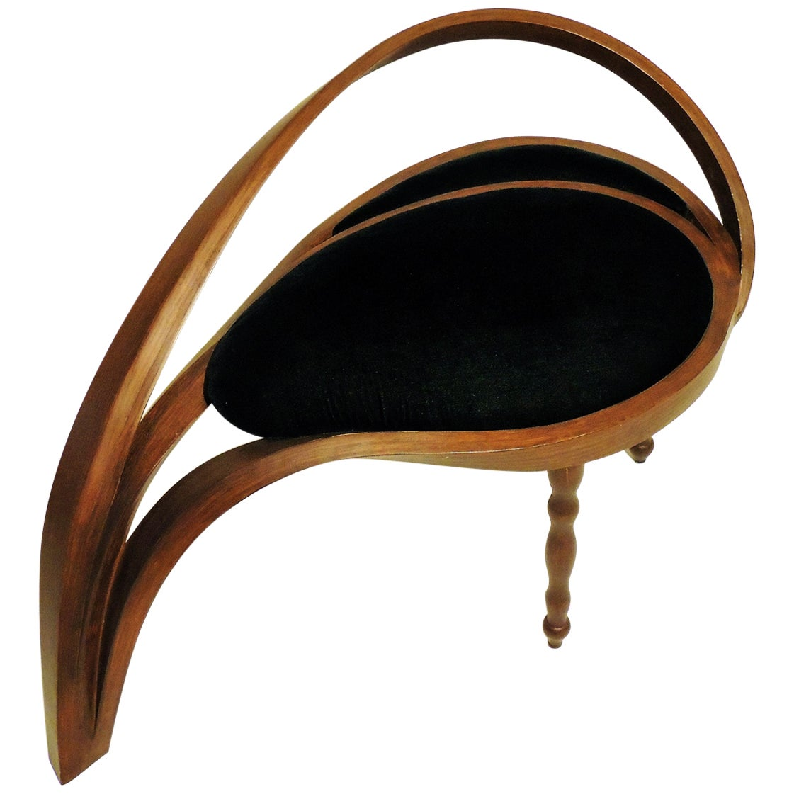 Solid Bentwood Side Chair Stool, Velvet Upholstery by Raka Studio