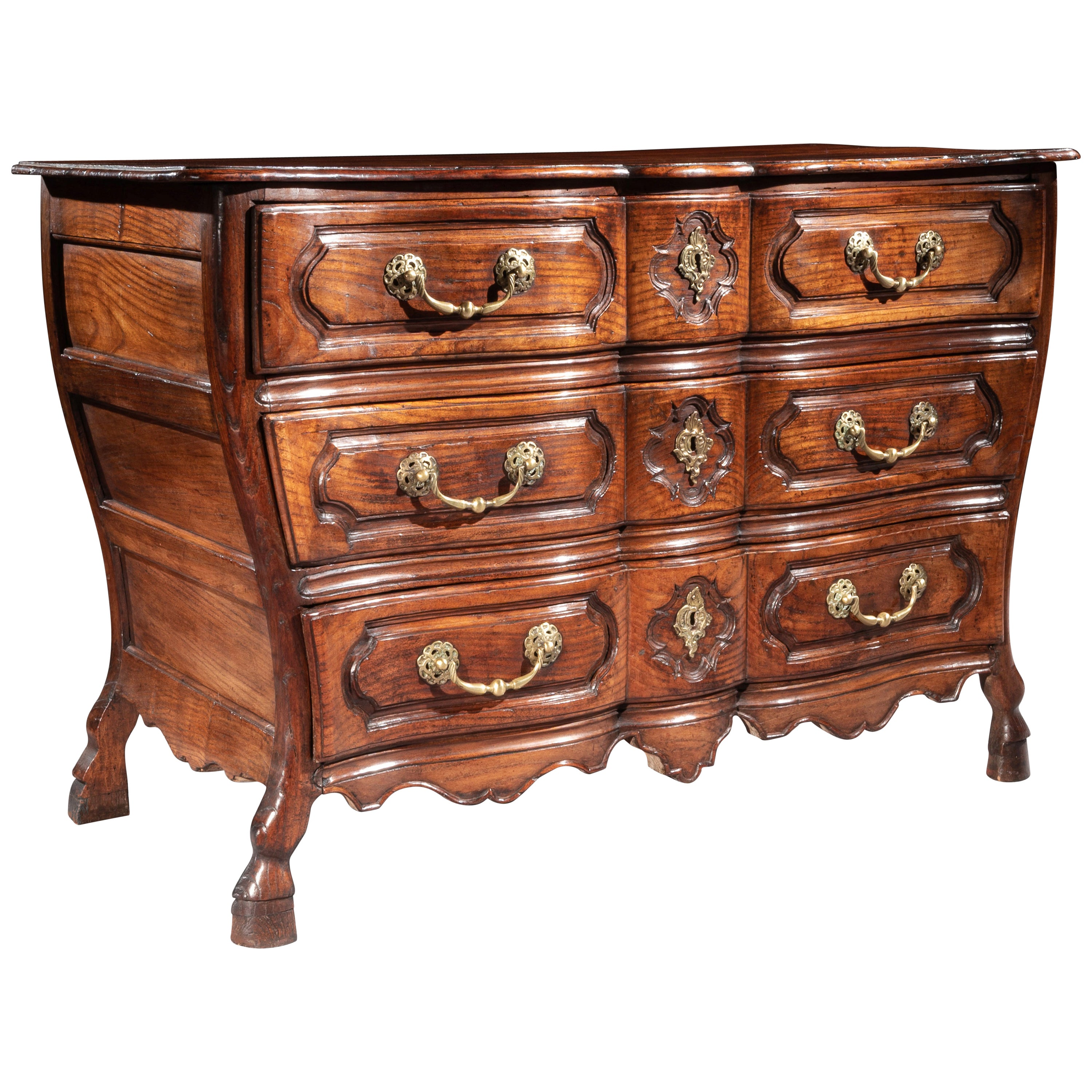 Mid-18th Century Louis XV Bombe Shaped Chestnut Provincial Commode