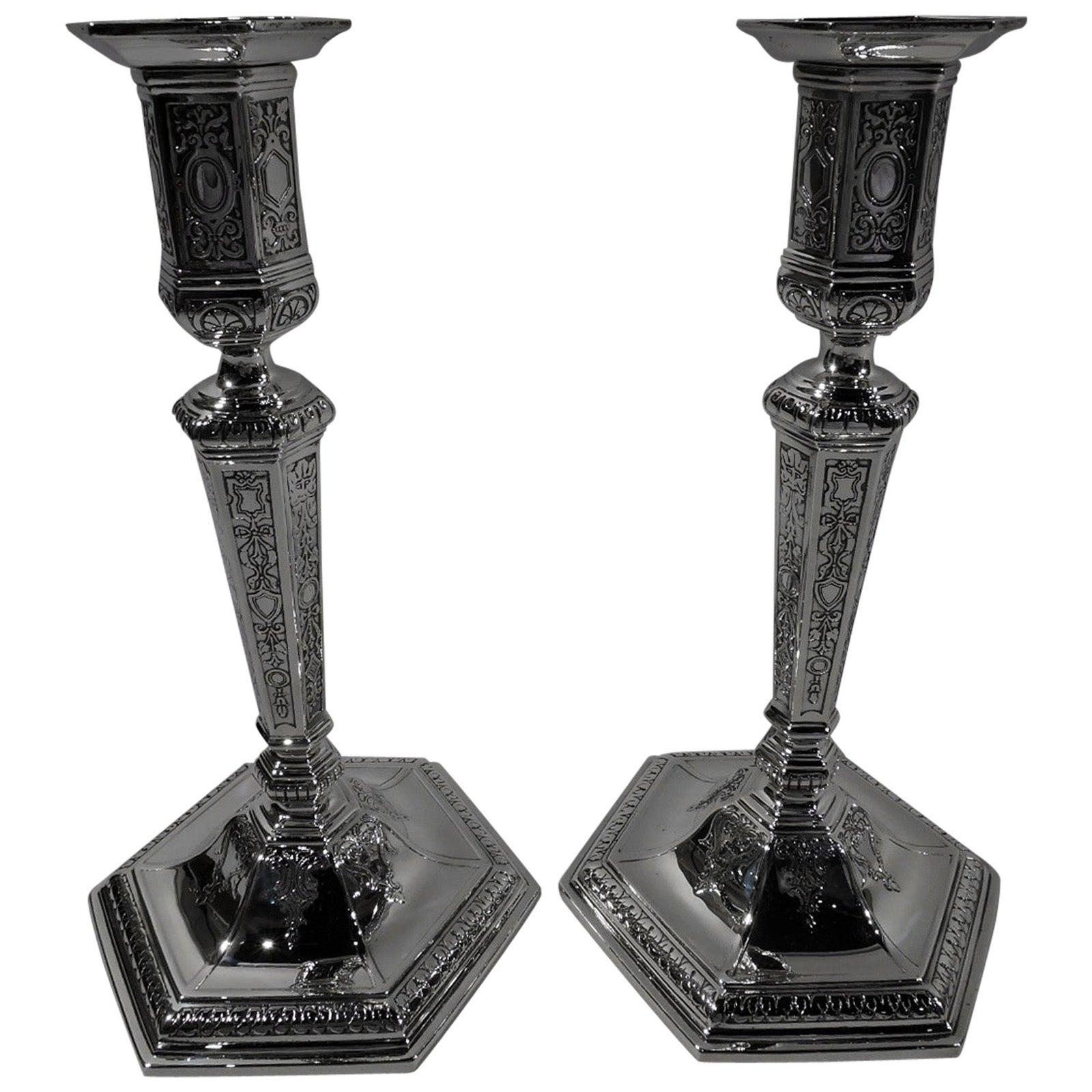 Pair of Tiffany Edwardian Regency Sterling Silver Candlesticks