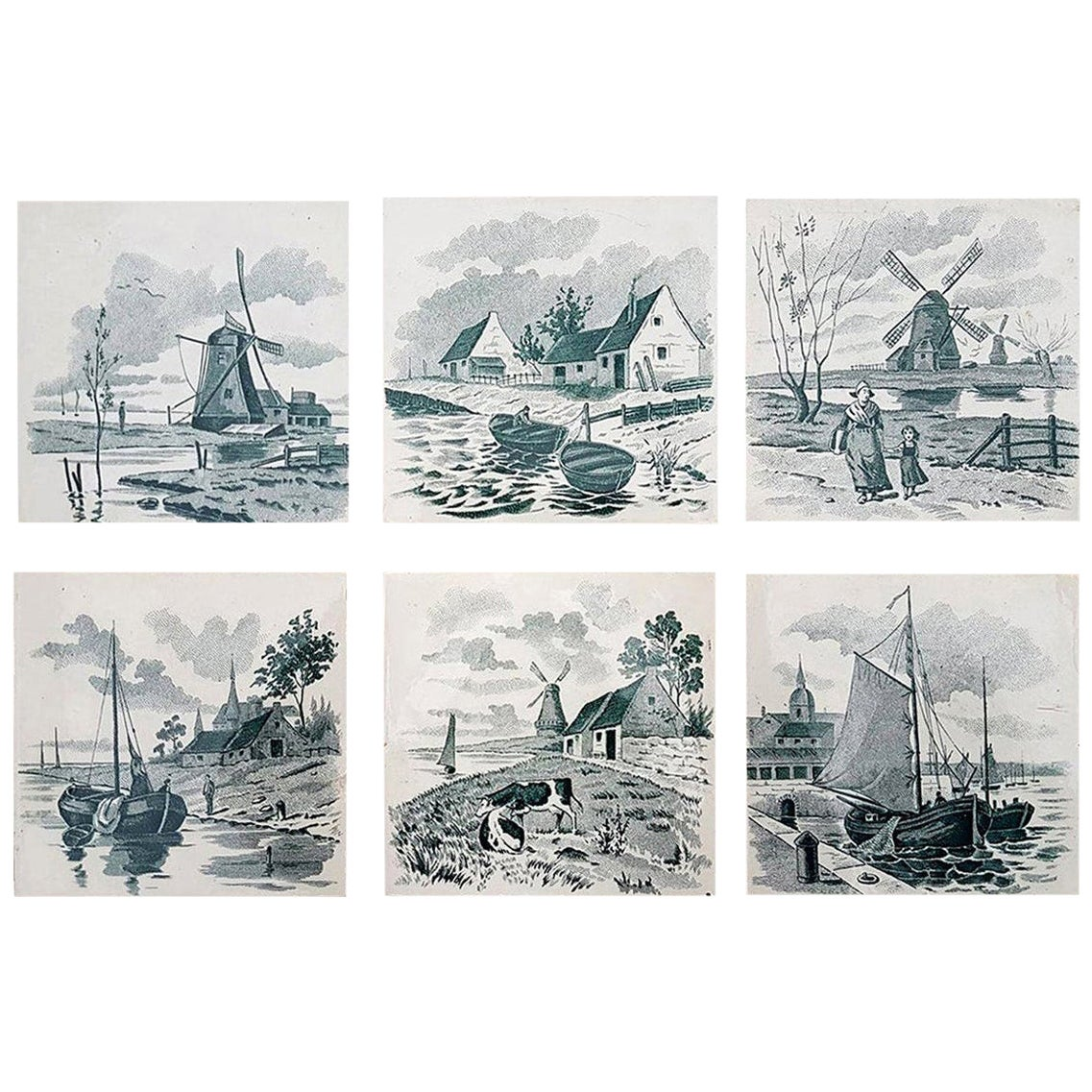 Set of 6 of Total 120 Dutch Dark Green Glazed Ceramic Tiles by Le Glaive, 1930