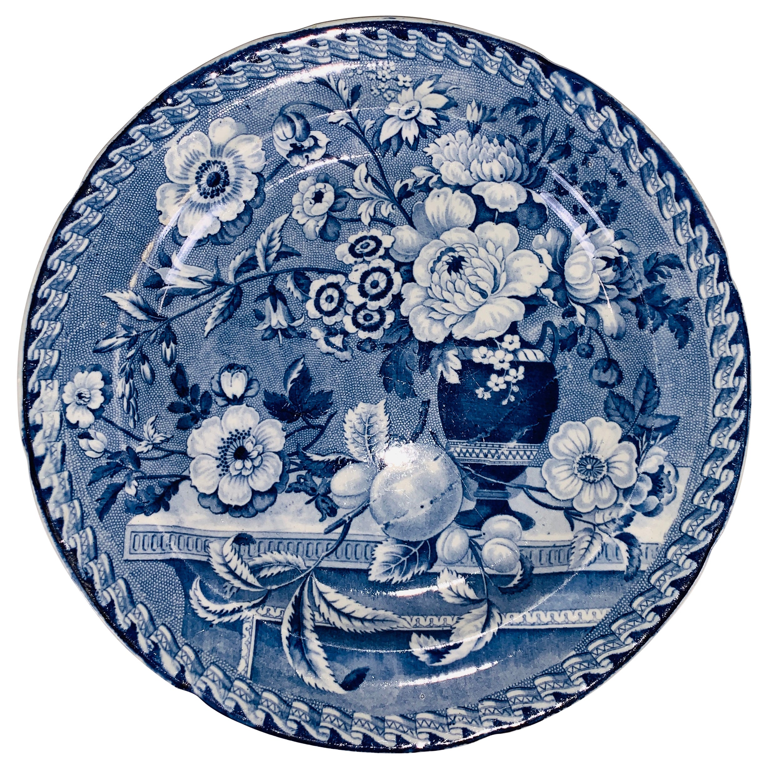 The Collection of Mario Buatta a Blue and White Staffordshire Plate