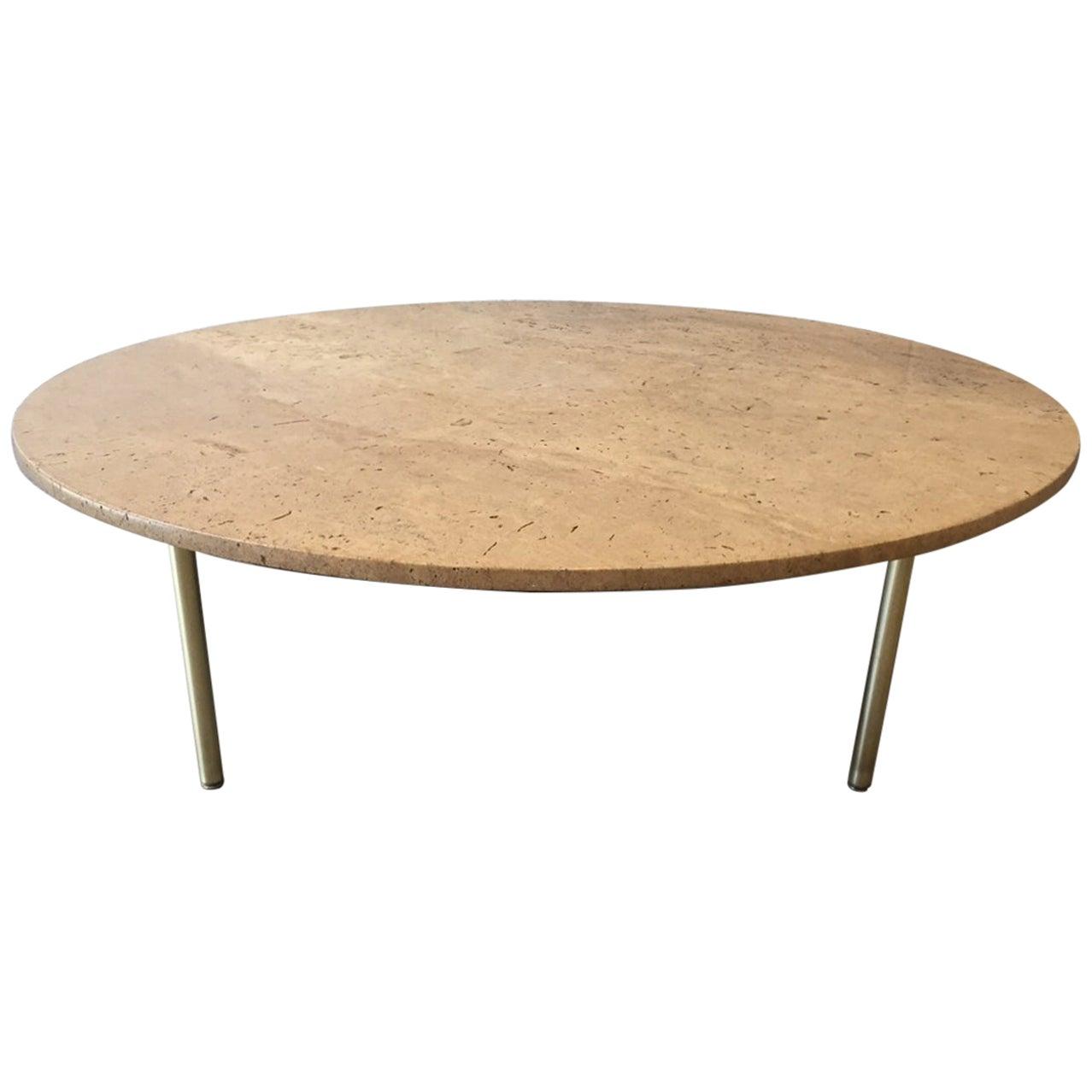 1950s Italian Travertine and Bronze Coffee Table
