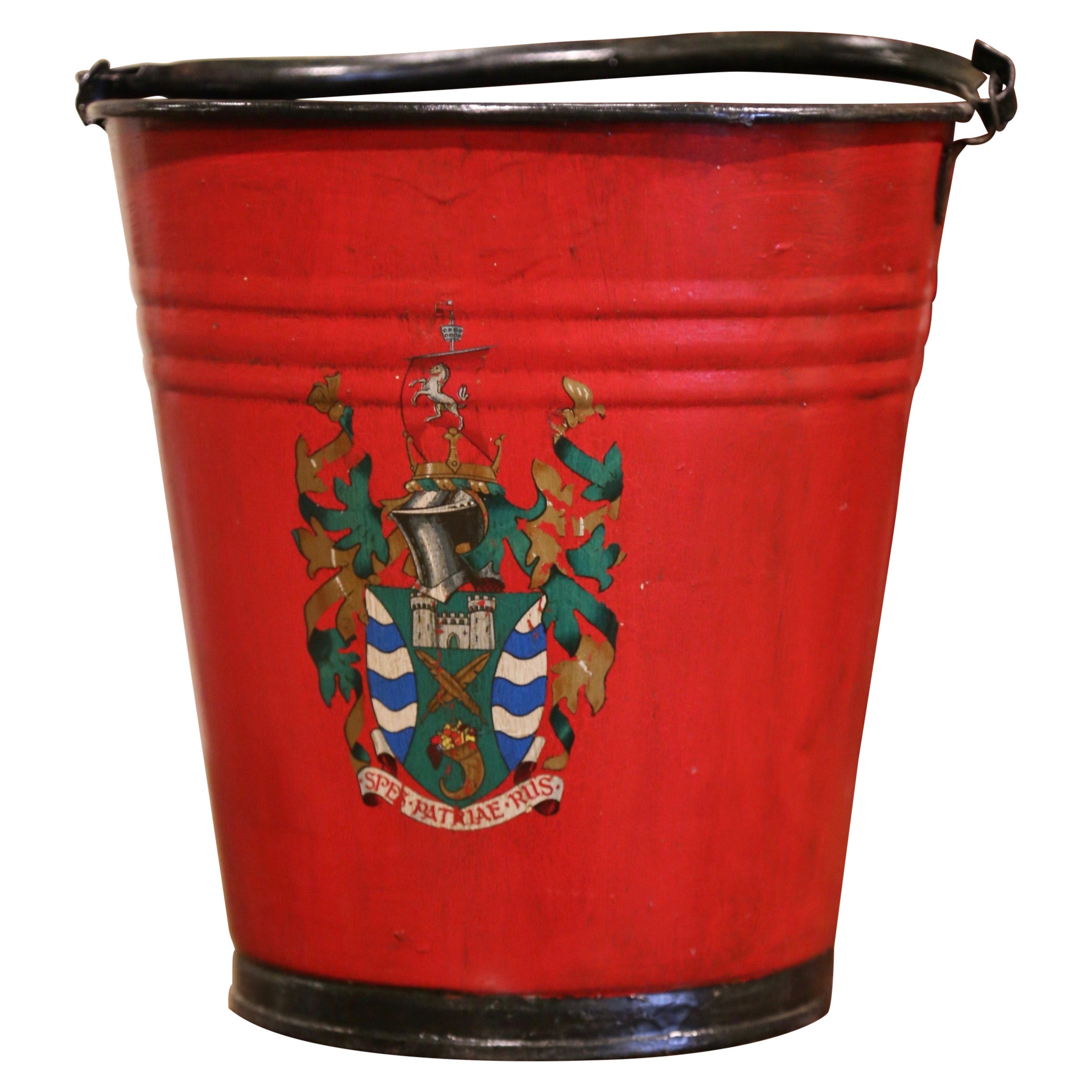 19th Century French Hand Painted Iron Bucket with Decorative Crest Decor