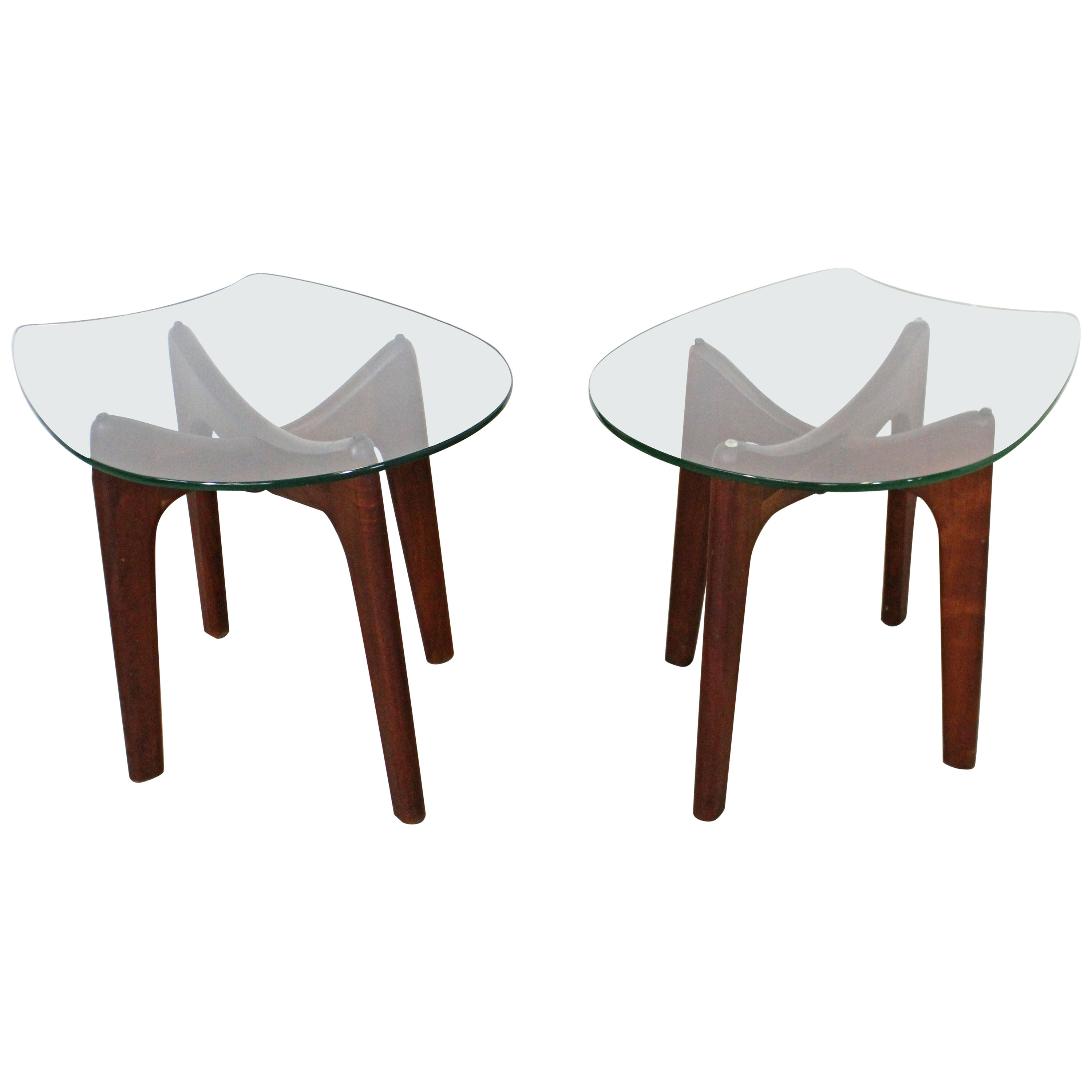 Pair of Mid-Century Modern Adrian Pearsall Stingray Glass Top End Tables