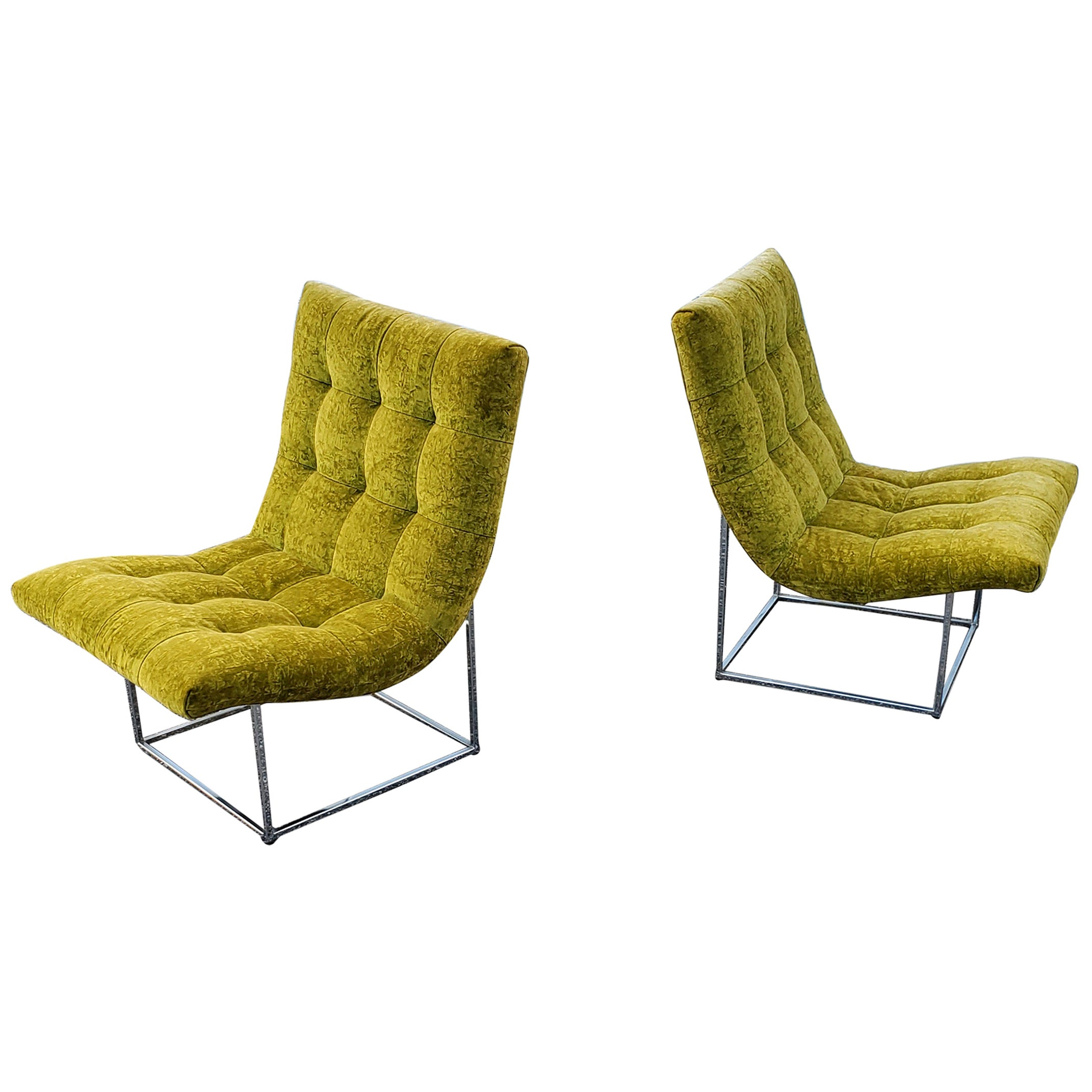 Pair of Milo Baughman for Thayer Coggin Scoop Lounge Chairs