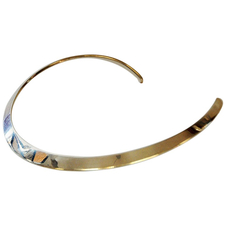 Sterling Silver Vintage Neck Ring by N.E. From, Denmark, 1960s