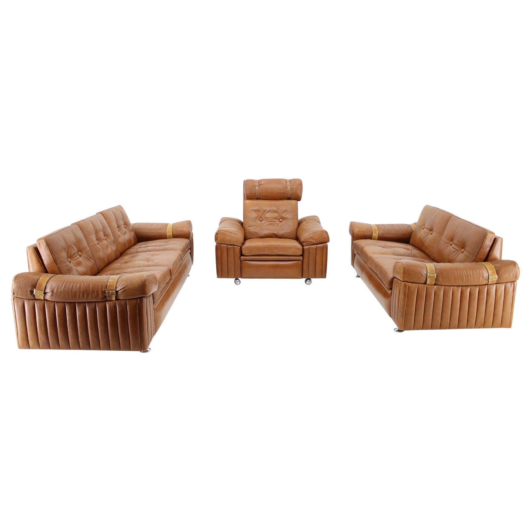 1970s Living Room Set in Cognac Leather