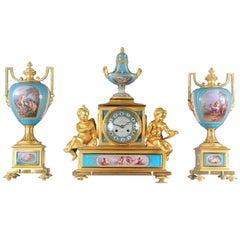 Sèvres Porcelain 'Jeweled' Three-Piece Clock Set by Raingo Frères
