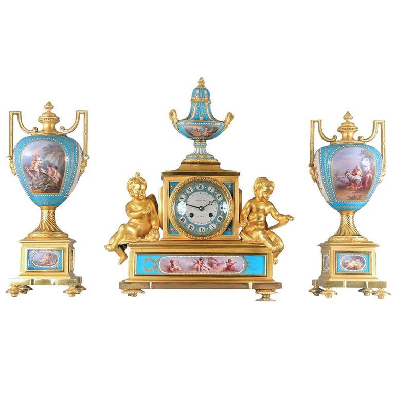 Sèvres Porcelain 'Jeweled' Three-Piece Clock Set by Raingo Frères For Sale