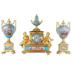 Sèvres Porcelain 'Jeweled' Three-Piece Clock Set by Raingo Frères