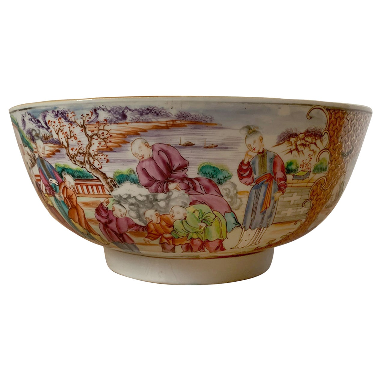 18th-19th Century Chinese Export Porcelain Punch Bowl, Unmarked