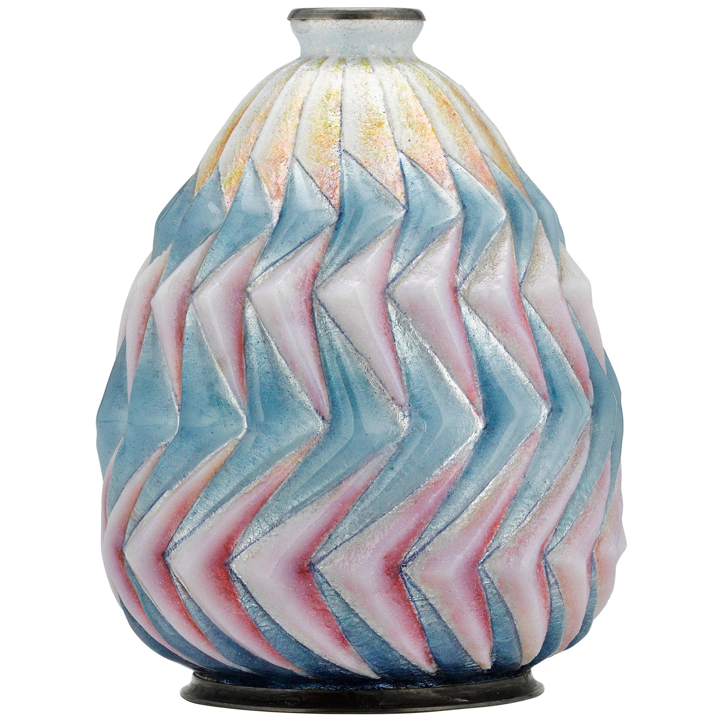 Fan Enamel Vase by Camille Fauré