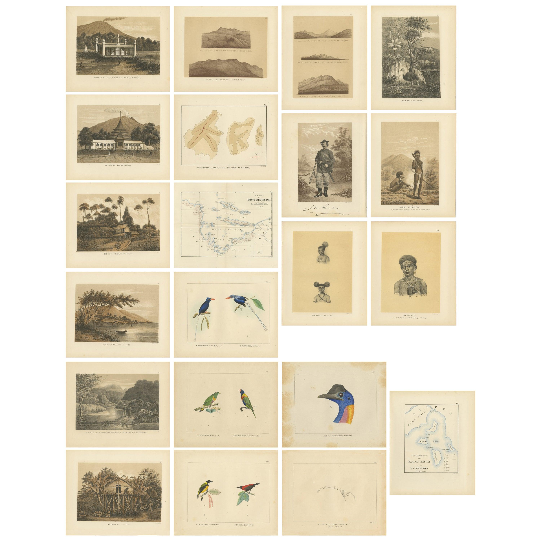 Set of 21 Antique Prints Illustrating the Travels to Cenderawasih Bay, 1875