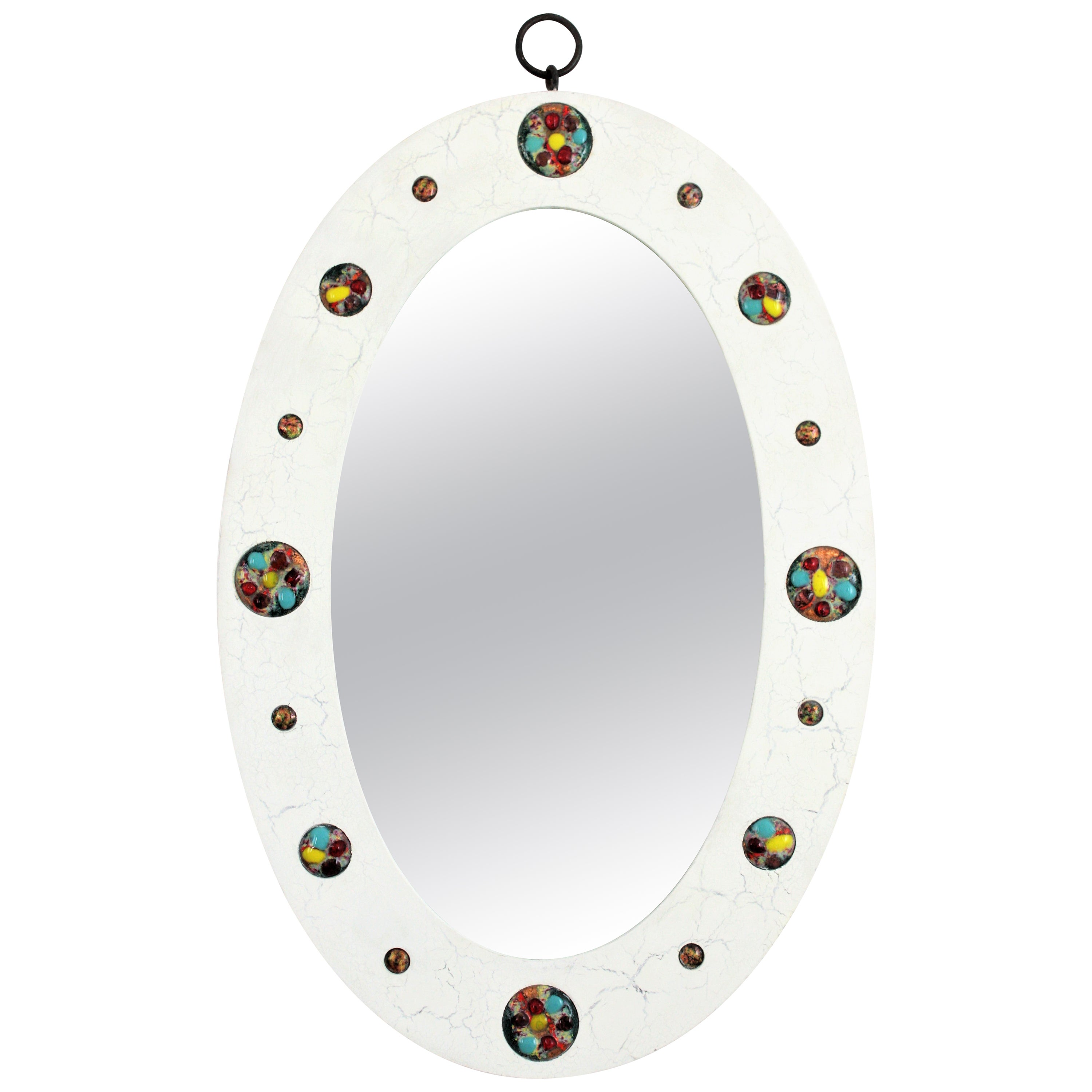 Spanish Modern Oval Mirror with Enamel Multi-Color Decorations, 1960s