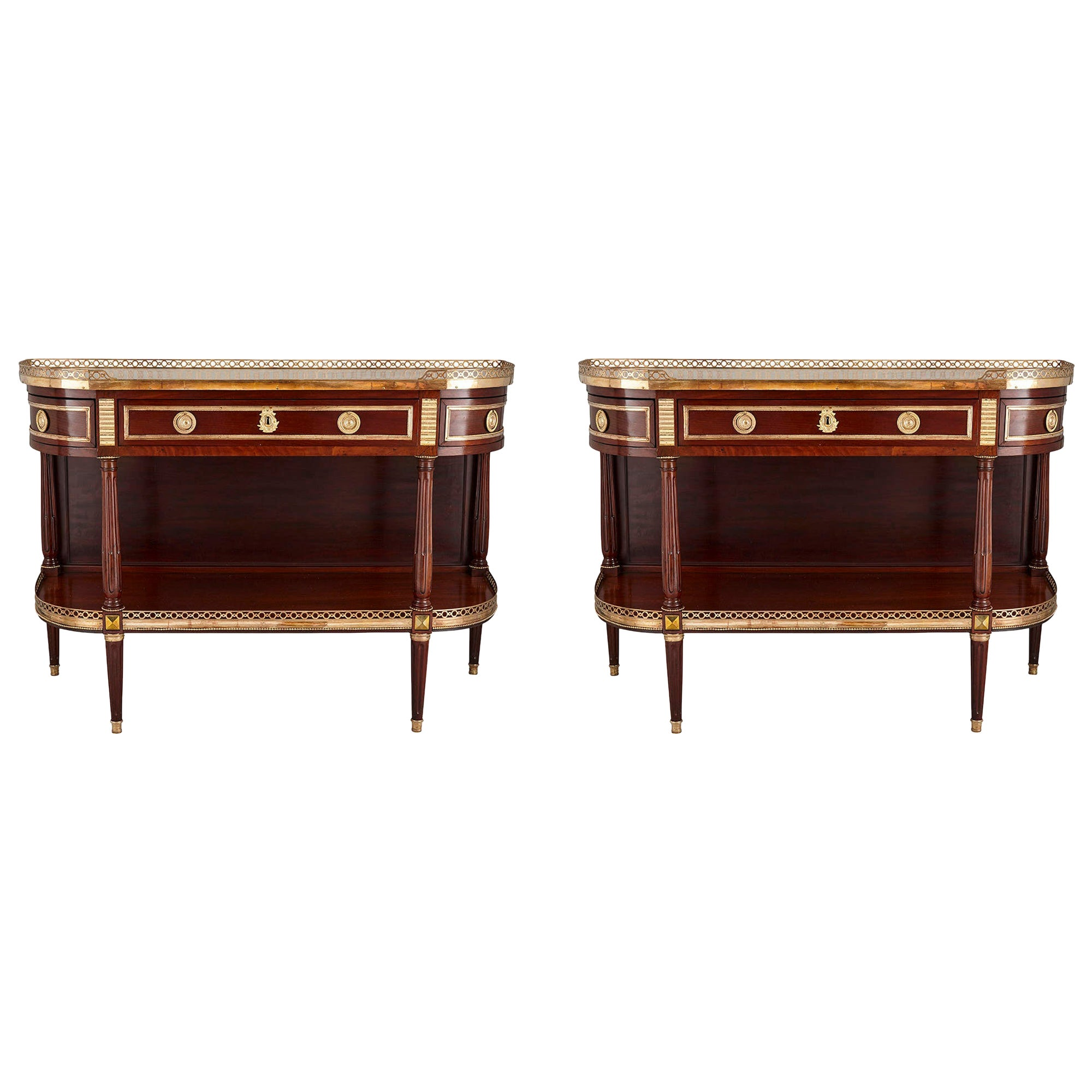 Pair of Neoclassical Style Gilt Bronze Mounted French Consoles