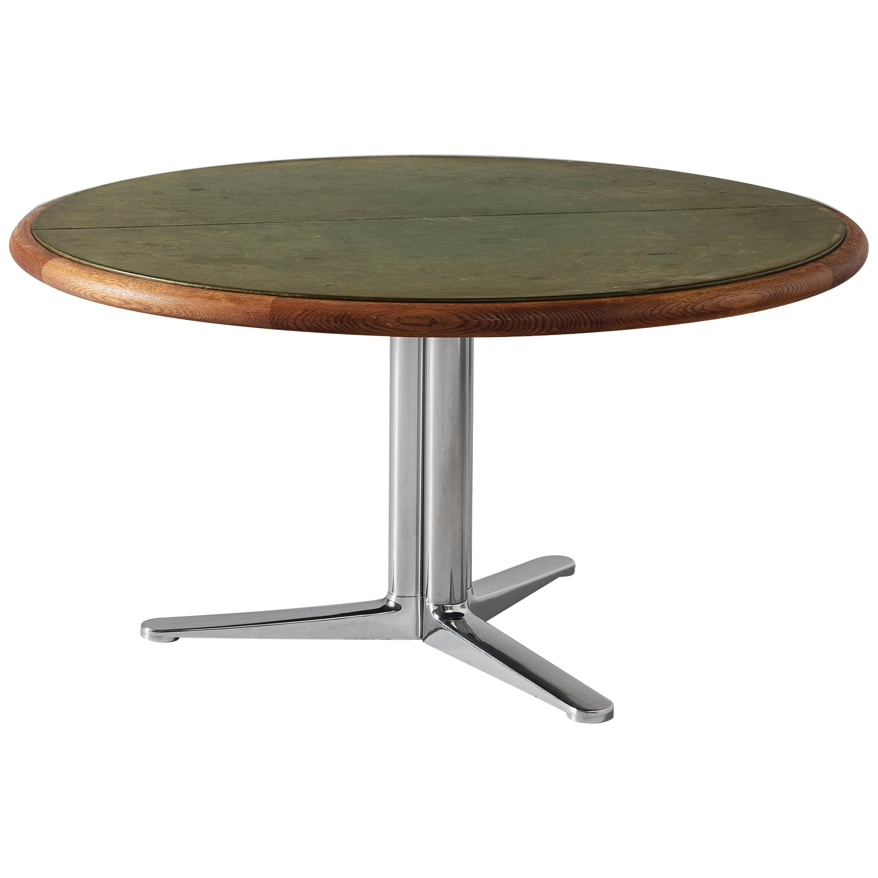 Warren Platner Dining Table for Knoll with Green Leather Top