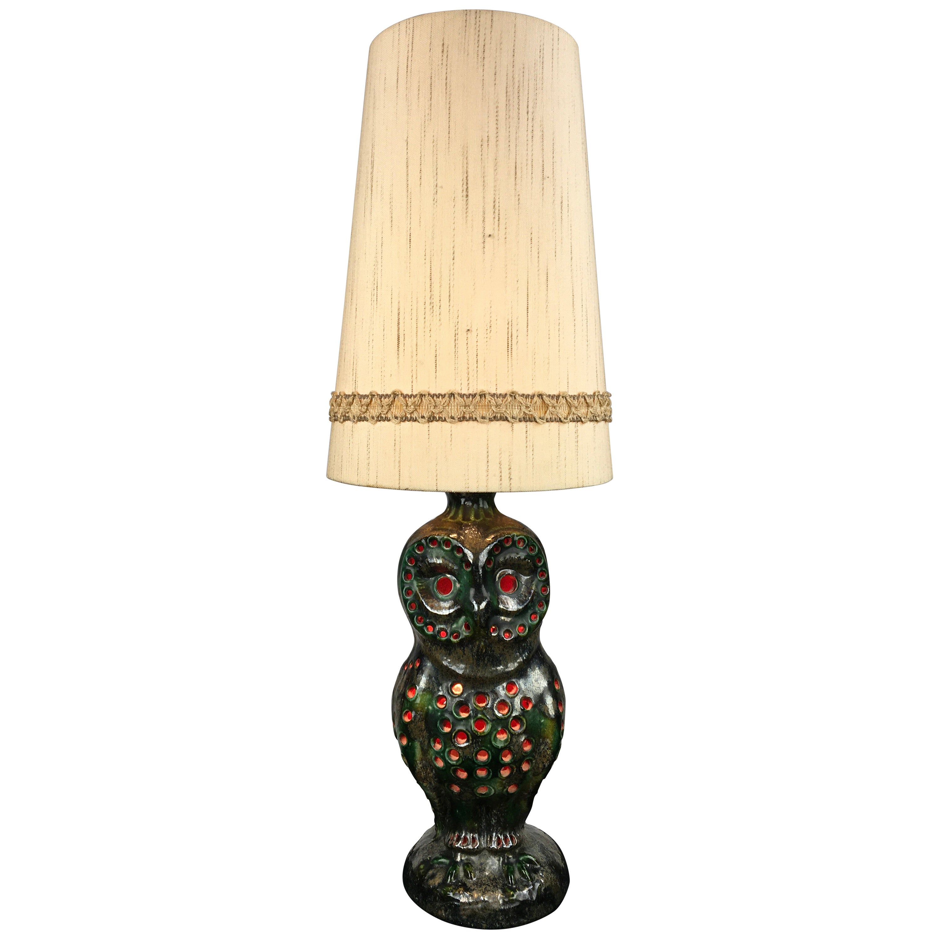 Ceramic Owl Table Lamp with Original Shade, Germany, 1970s