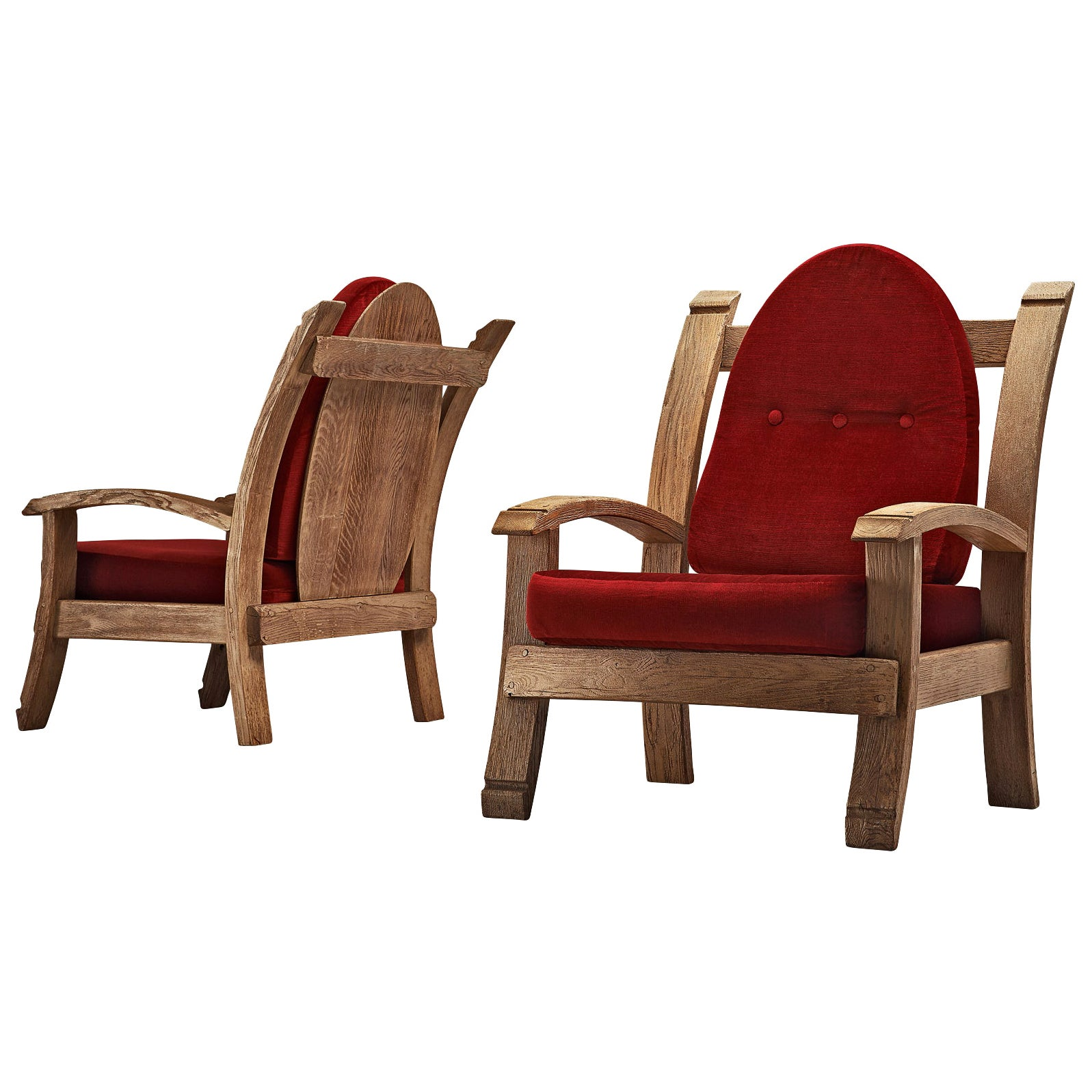 Pair of French Art Deco Armchairs in Solid Oak