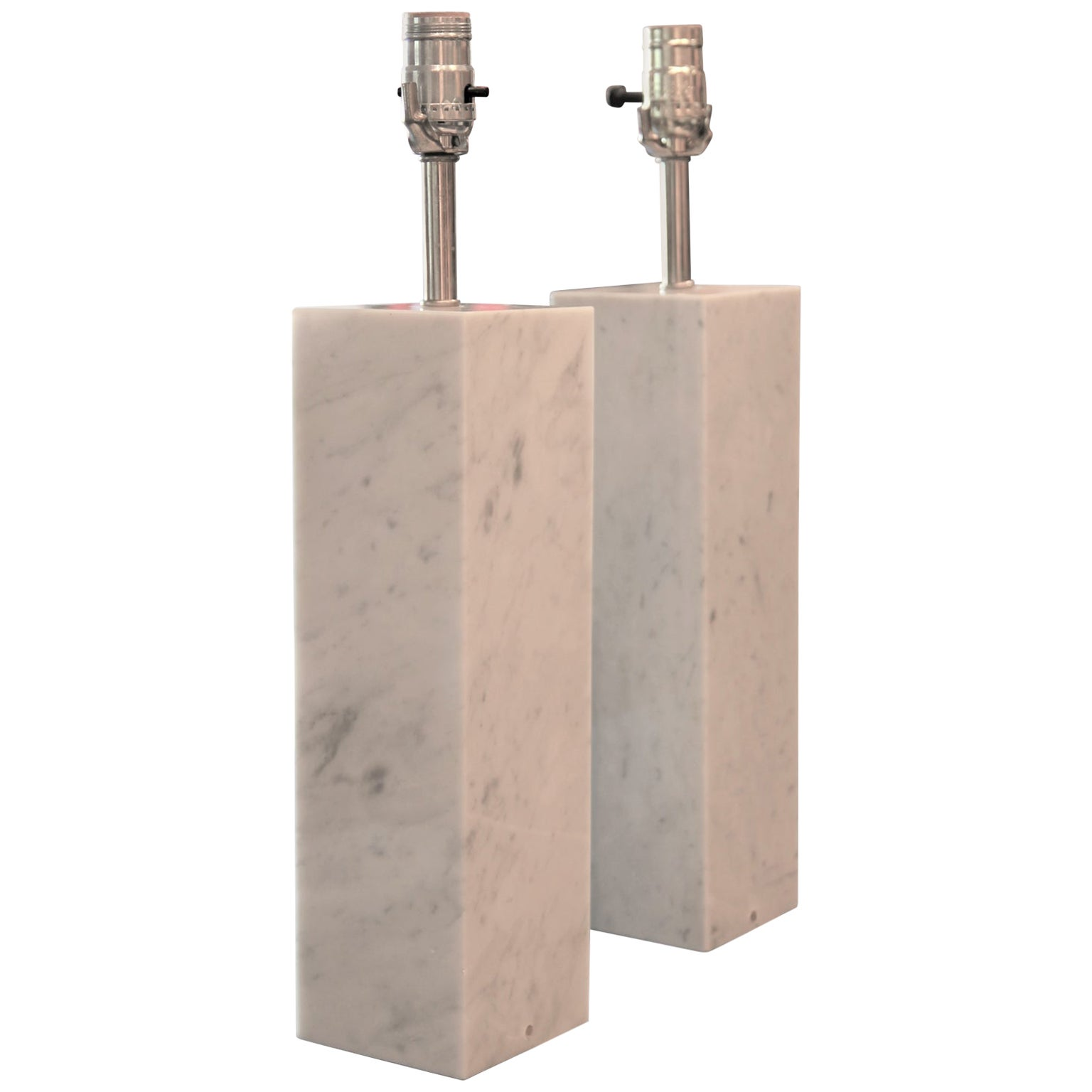 Pair of Rectangular White Marble Lamps Designed by Nessen Lamps